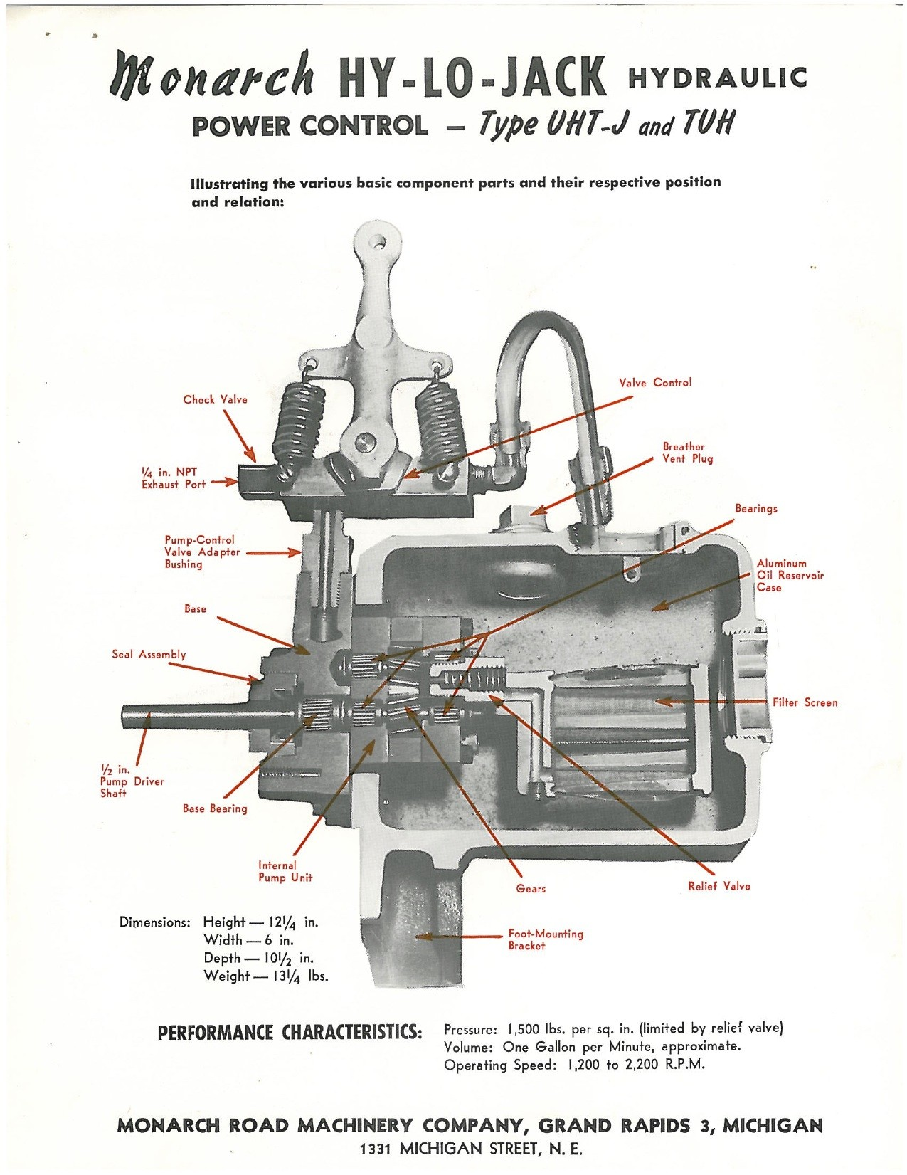 Monarch Hydraulic Pump Wiring Diagram Car Sno Way Plow Hydraulics Hy Lo Brochure Of