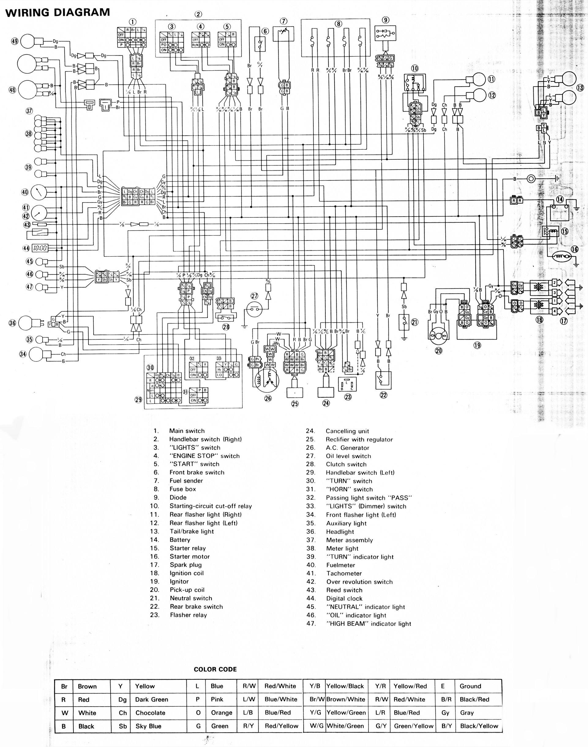Motorcycle Electrical Wiring Diagram 853cc Yamaha Xj900 Sport Bike ...