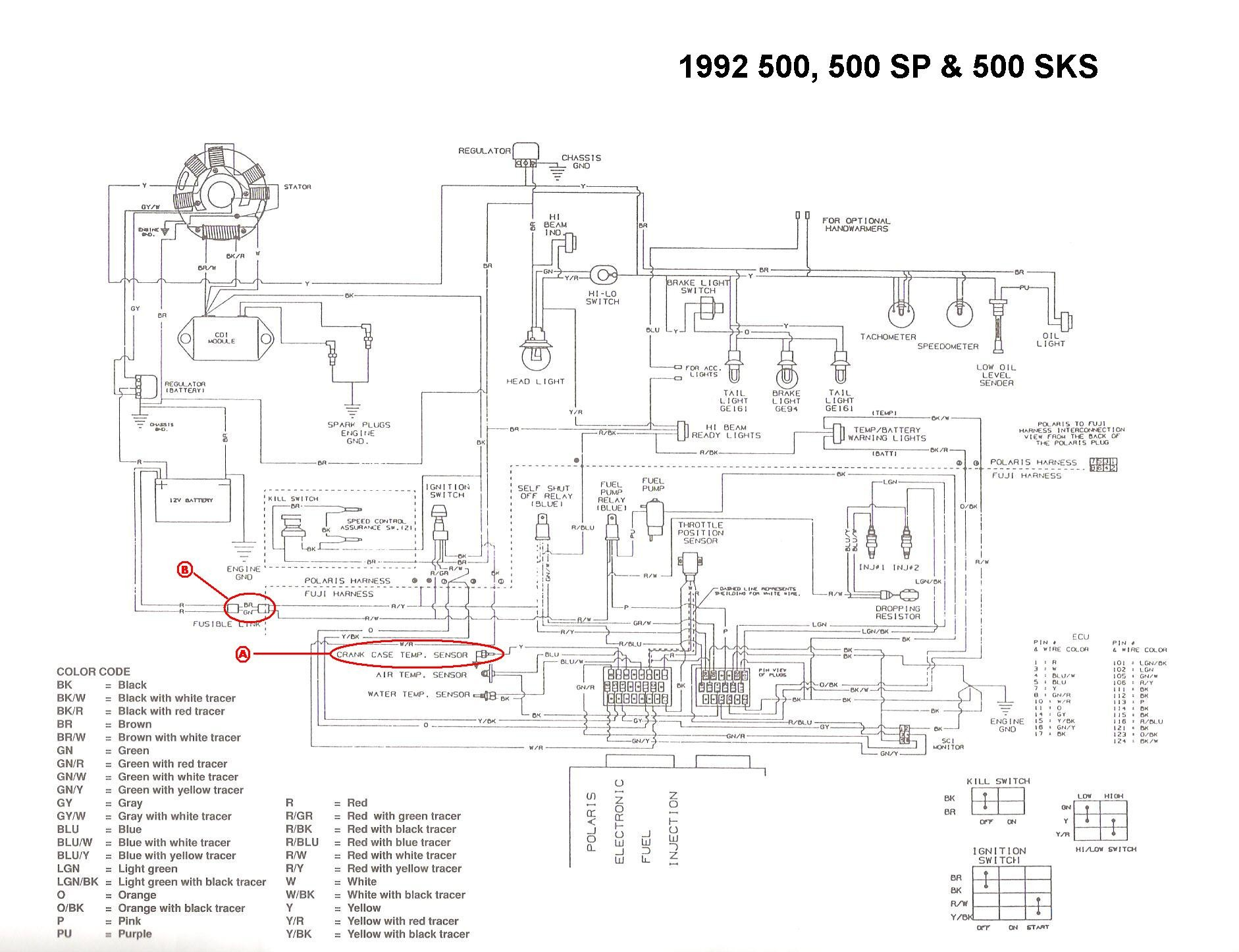 1995 polaris efi wiring diagram schematic