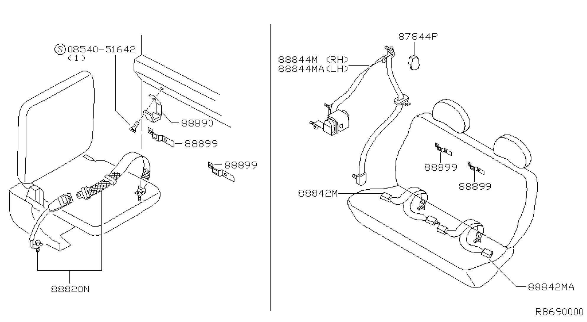 Seat Belt Assembly Diagram Nissan Frontier Crew Cab Oem Parts Nissan Usa Estore Of Seat Belt Assembly Diagram