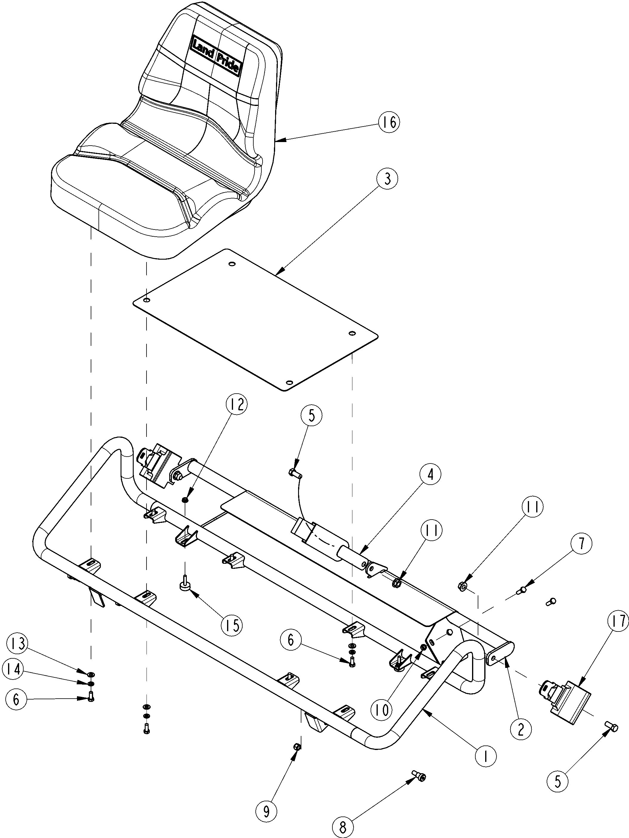 Seat Belt assembly Diagram Land Pride Treker 4410st Vehicle Bucket Seat Option assembly Parts Of Seat Belt assembly Diagram