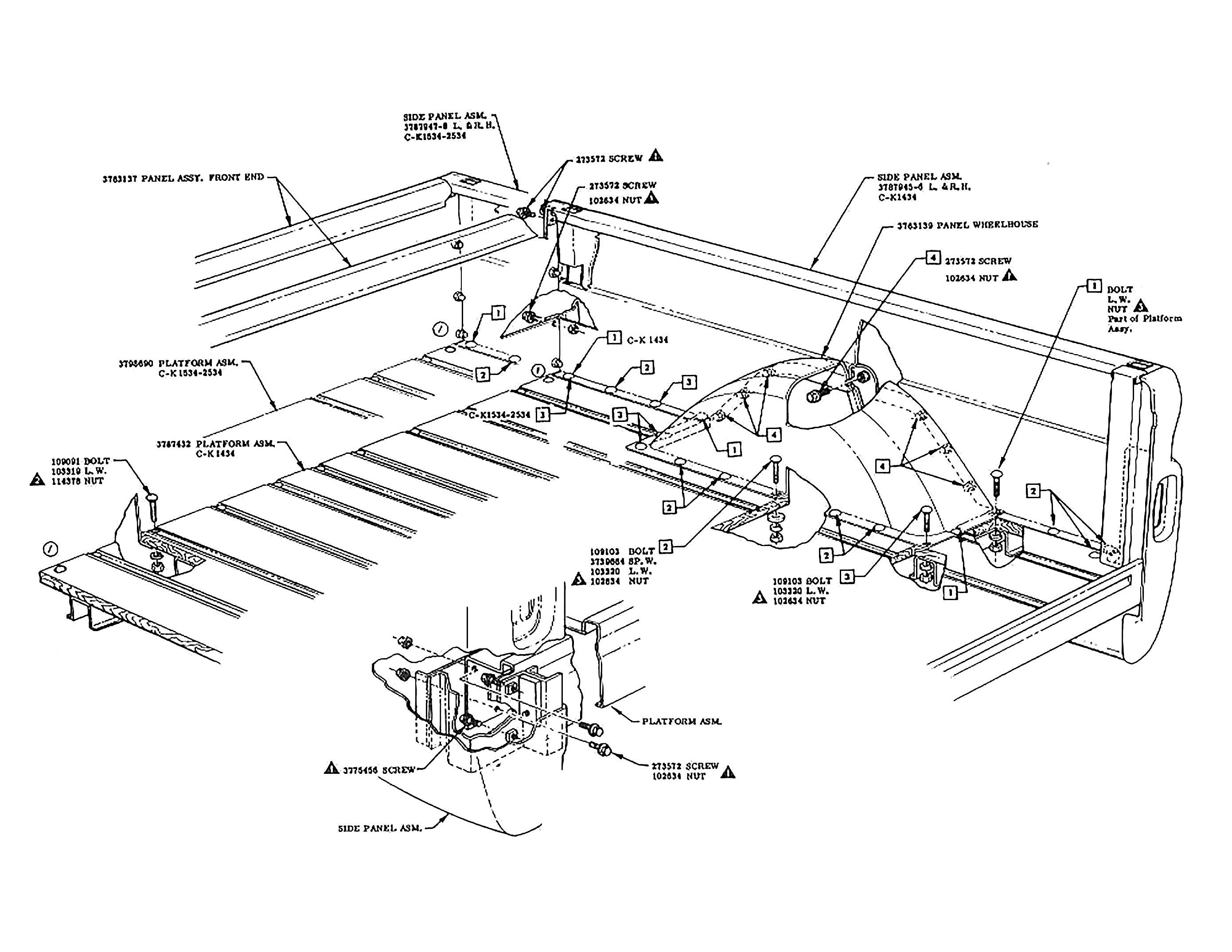 Truck Diagram Parts Bed Fleetside Diagram 60s Chevy C10 Body & Misc Of Truck Diagram Parts