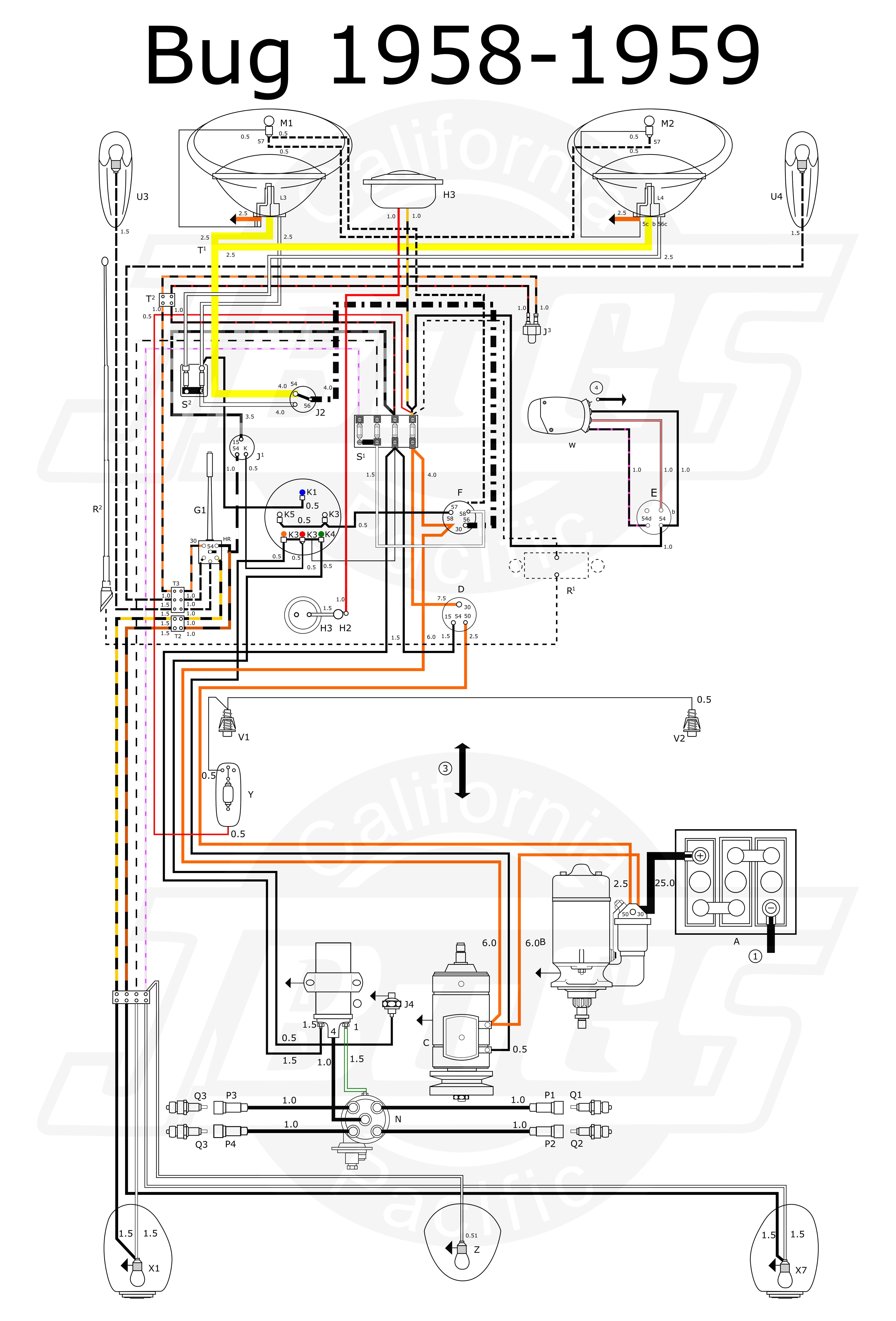 Vw Engine Diagram Tech Article 1958 59 Wiring Escarabajos Related Post