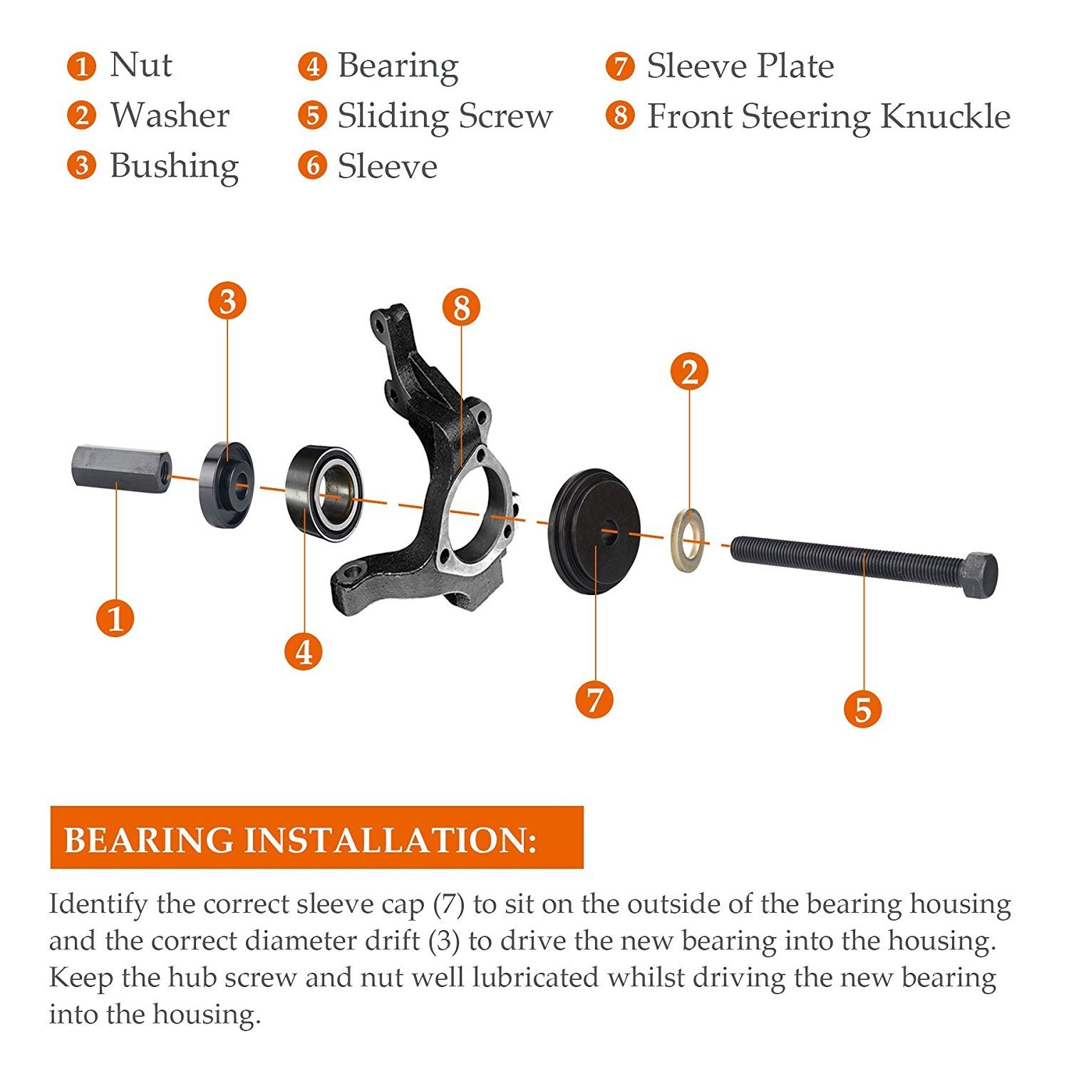 Wheel Bearing assembly Diagram orion Motor Tech 23 Piece Fwd Front Wheel Drive Bearing Adapters Of Wheel Bearing assembly Diagram