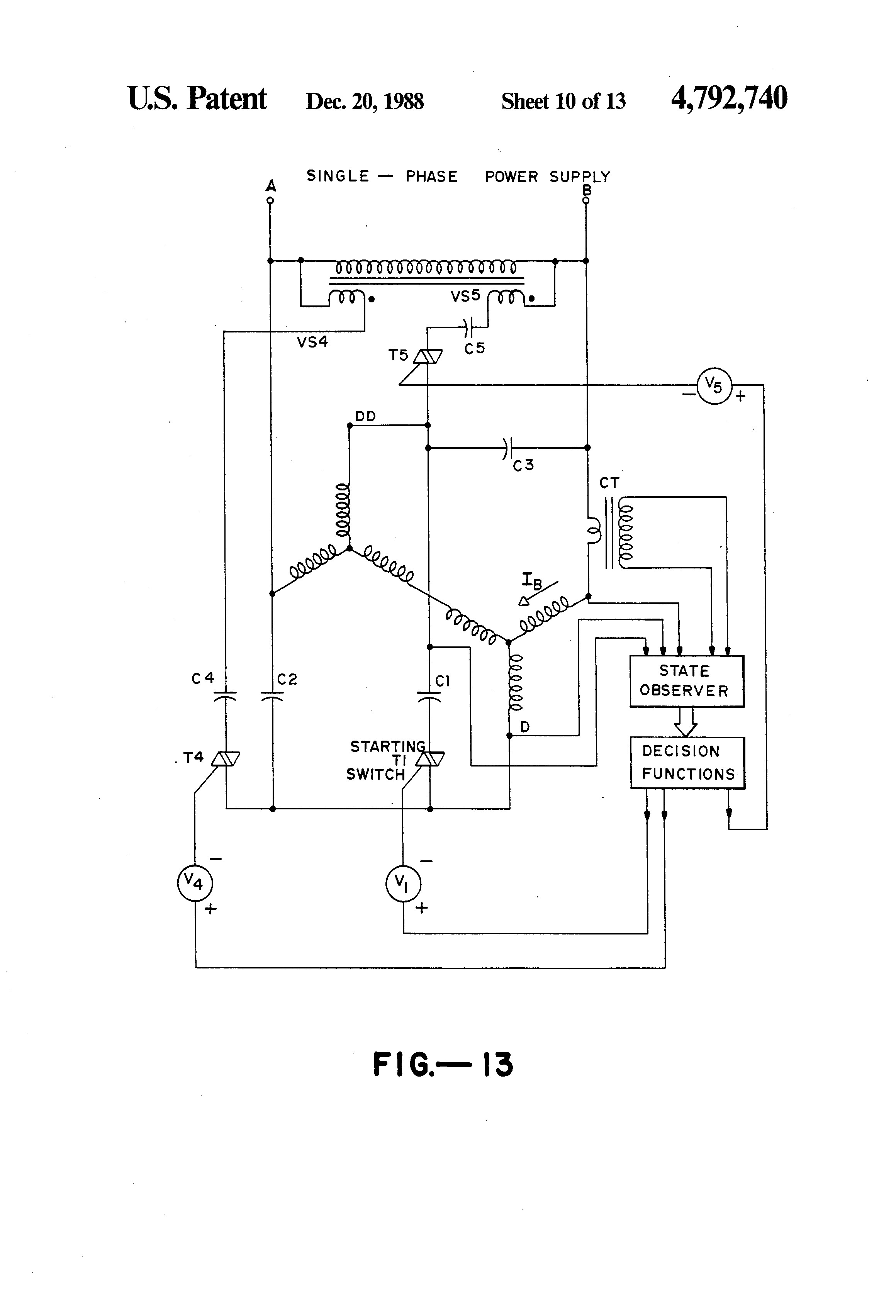 Wiring diagram for single phase motor patent us three phase patent us three phase induction motor with single drawing asfbconference2016 Choice Image