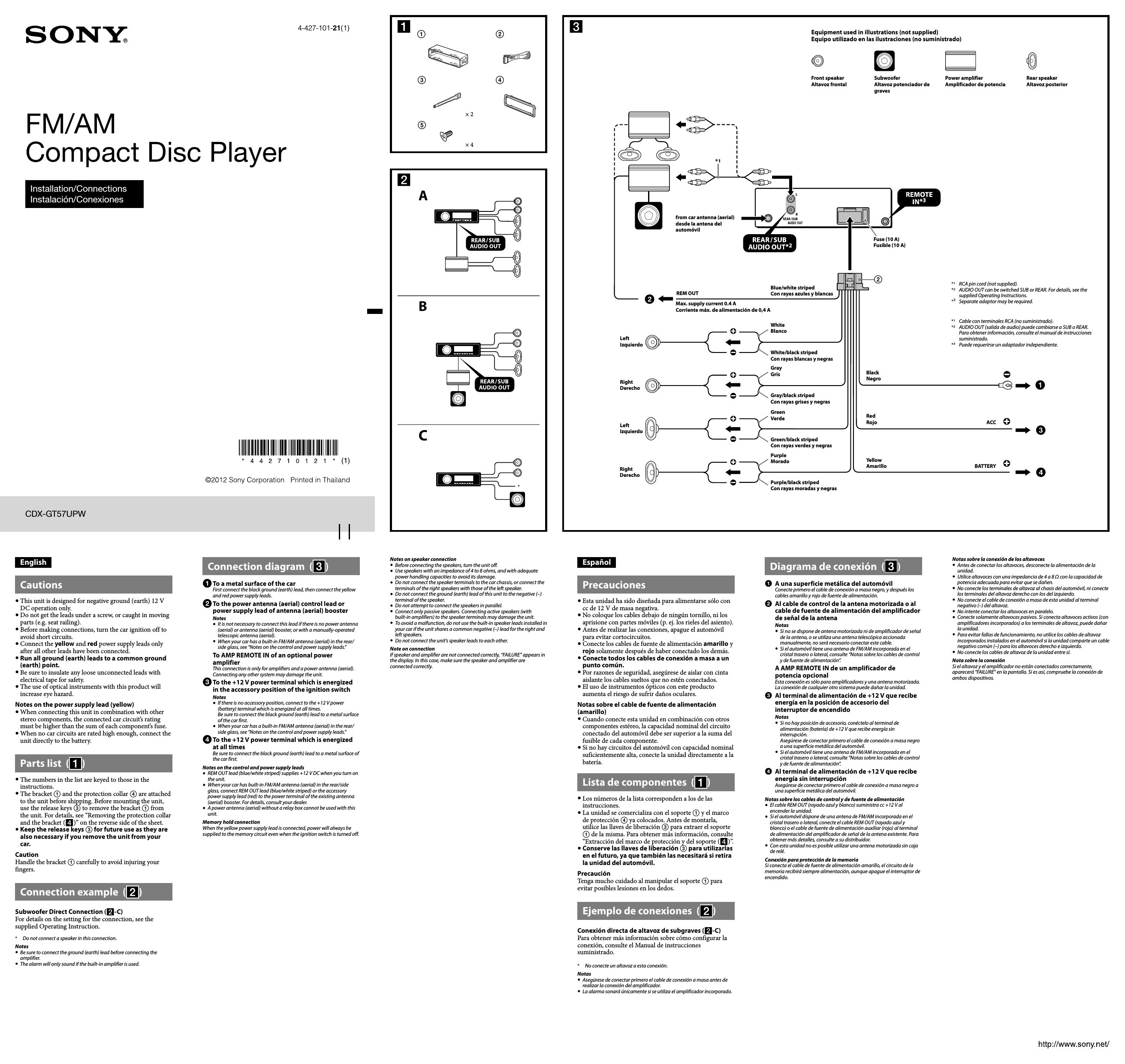 wiring diagram for sony car stereo