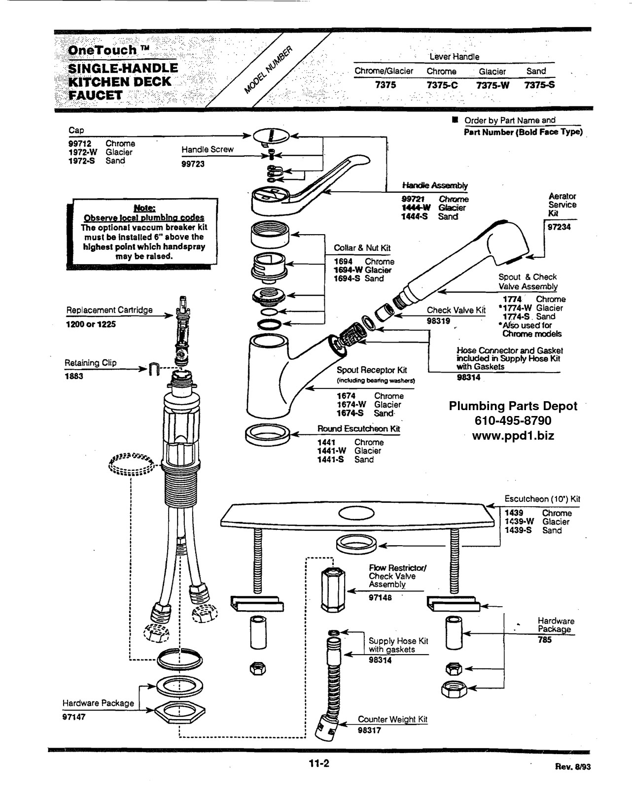 bathroom faucet parts diagram