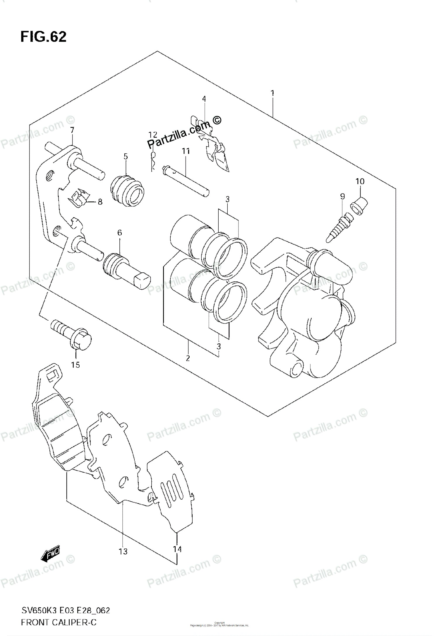 brake caliper parts diagram   saab bolt hex with con wa