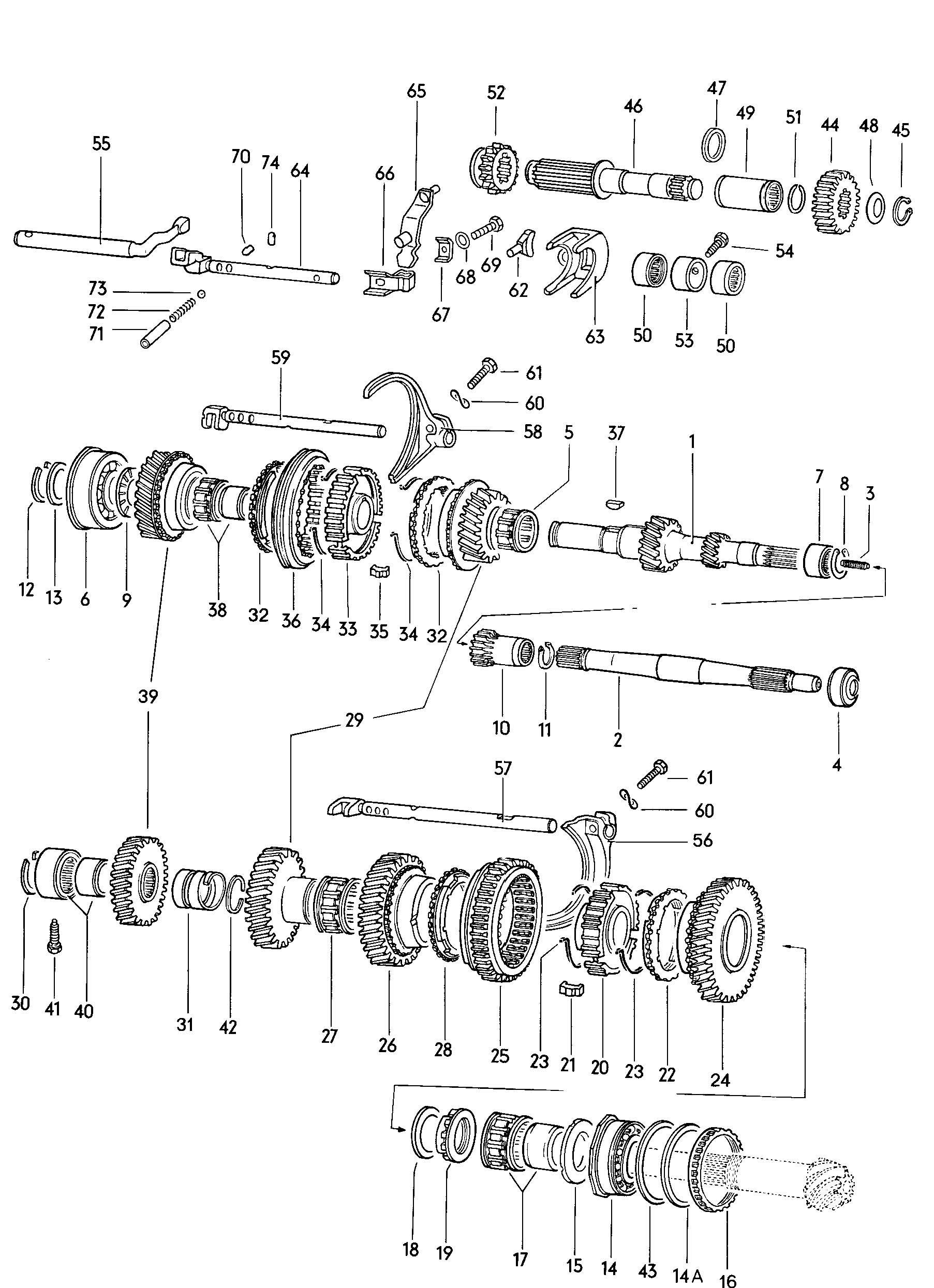 Diagram Of Car Gears Gears and Shafts Manual Transmission Volkswagen Vw Beetle