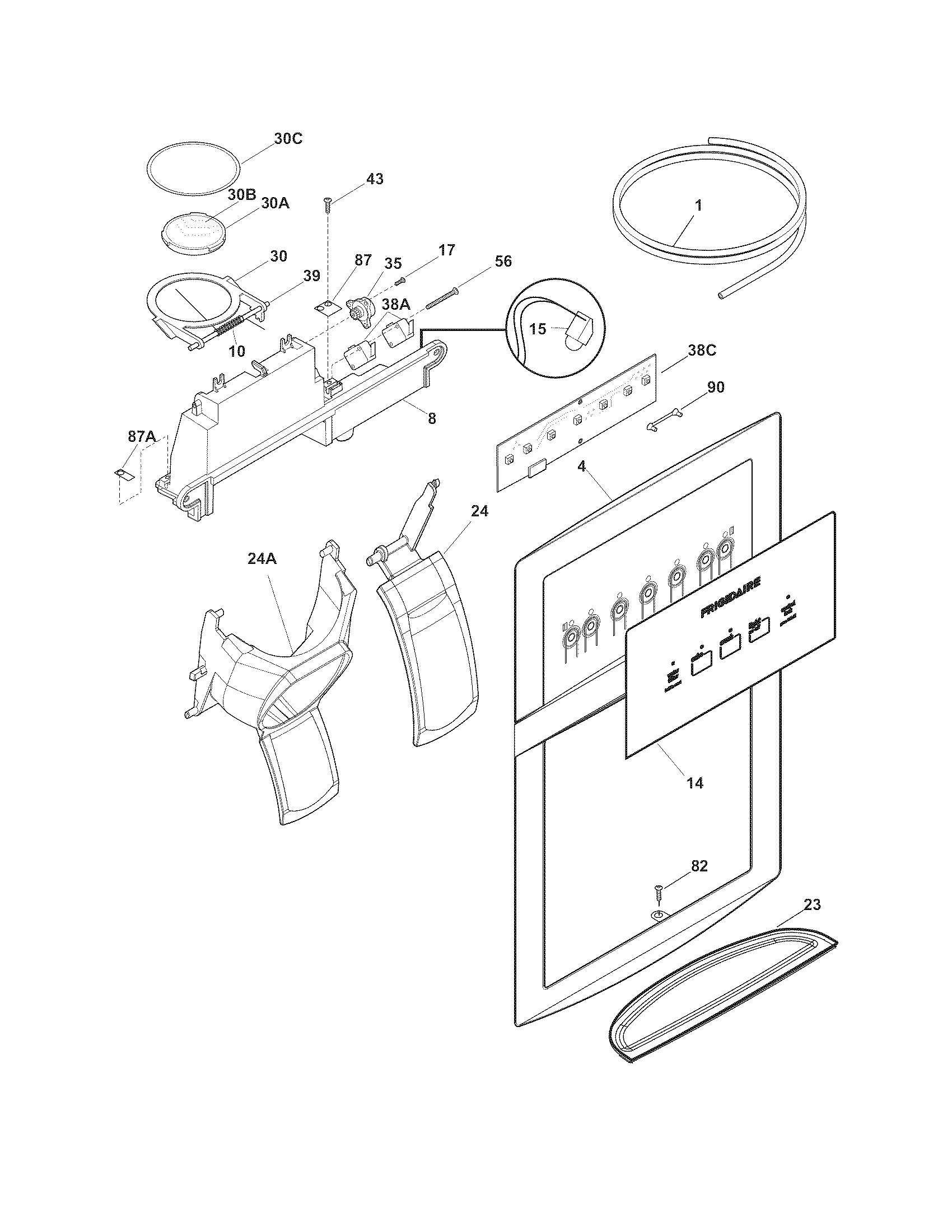 frigidaire ice maker parts diagram