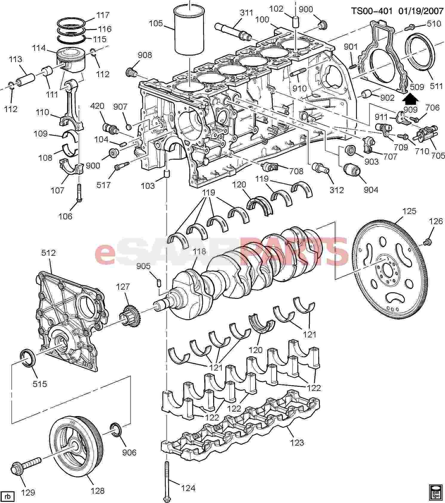 Gm Parts Diagrams with Part Numbers Esaabparts Saab 9 7x Engine Parts Engine Internal 4 2s Of Gm Parts Diagrams with Part Numbers