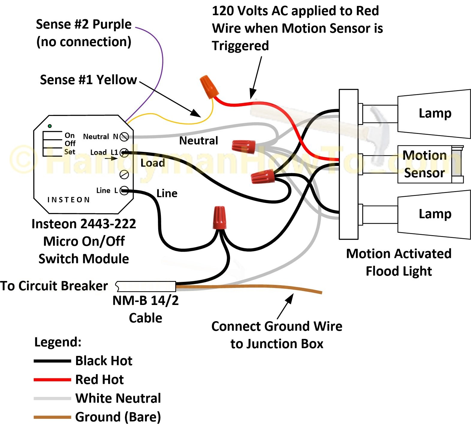 Pir Motion Sensor Wiring Diagram How to Wire An Insteon 2443 222 Micro Switch A Motion Activated Of Pir Motion Sensor Wiring Diagram