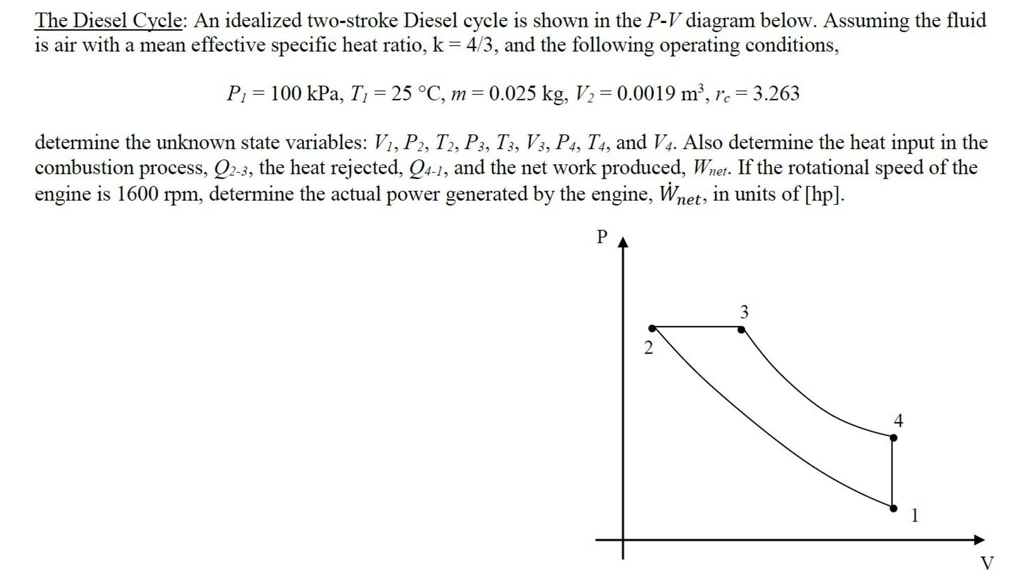 Pv Diagram Of Diesel Engine solved the Diesel Cycle An Idealized Two Stroke Diesel C Of Pv Diagram Of Diesel Engine