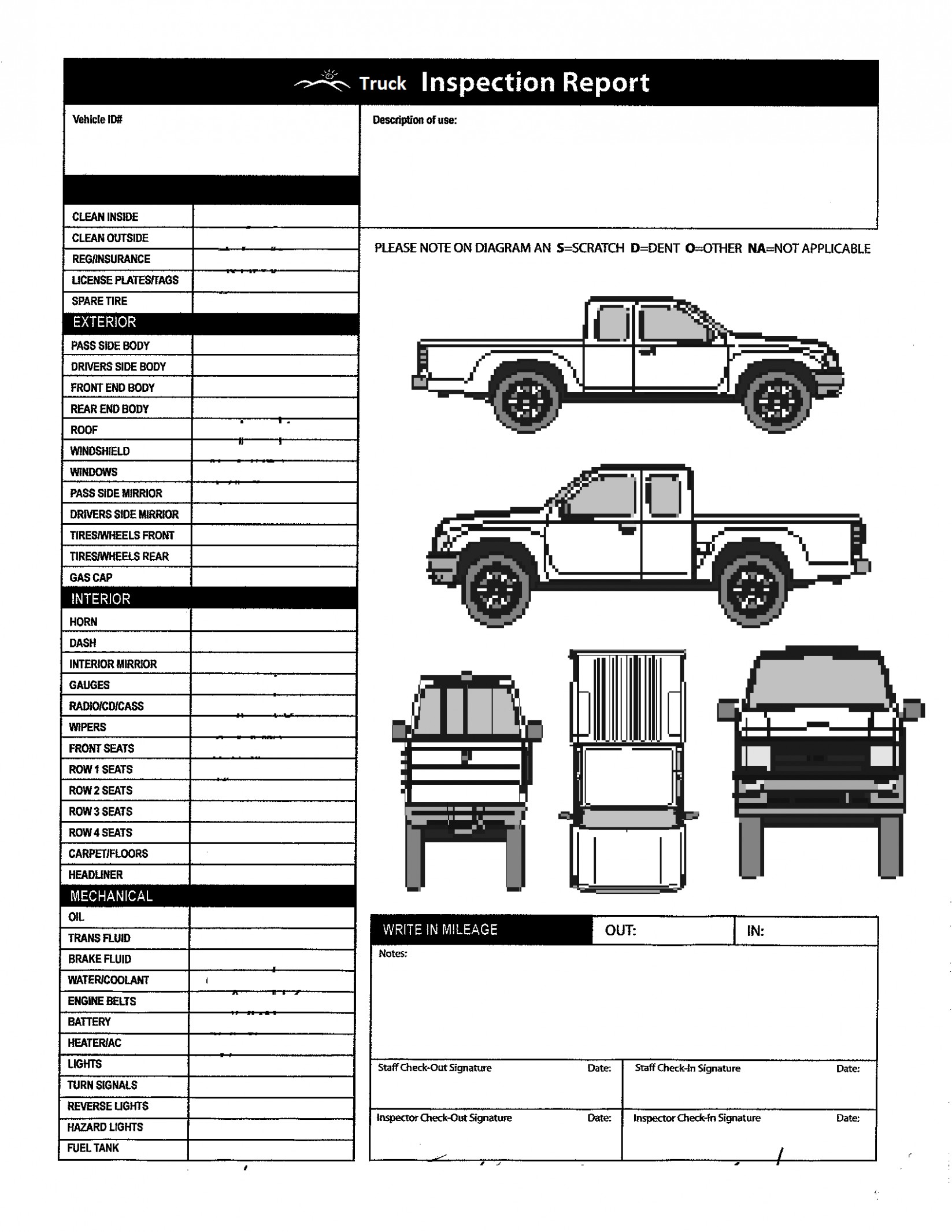 Checklist For Rental Truck Damage Diagram