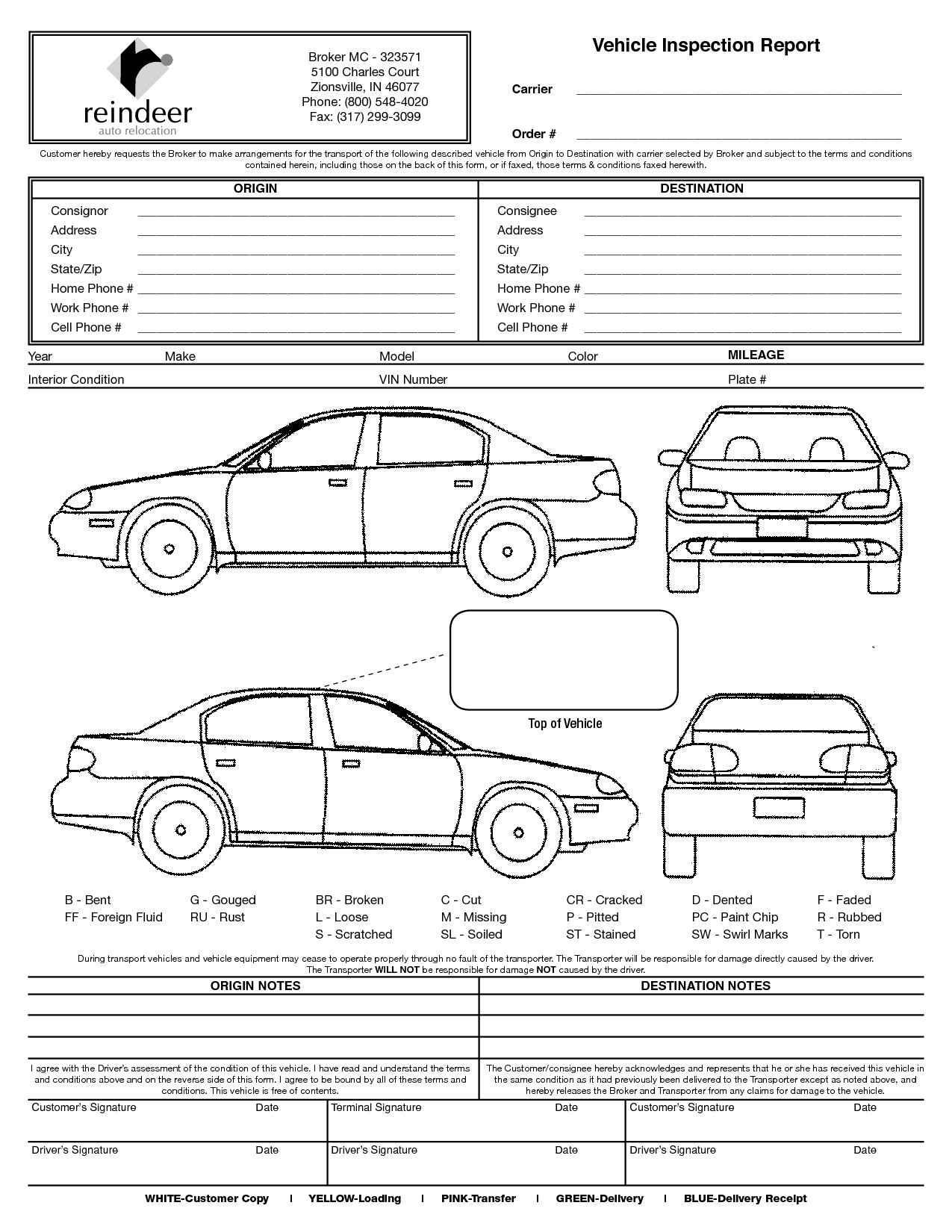 Truck Damage Diagram Vehicle Inspection form Template as Well as Vehicle Damage Diagram Of Truck Damage Diagram