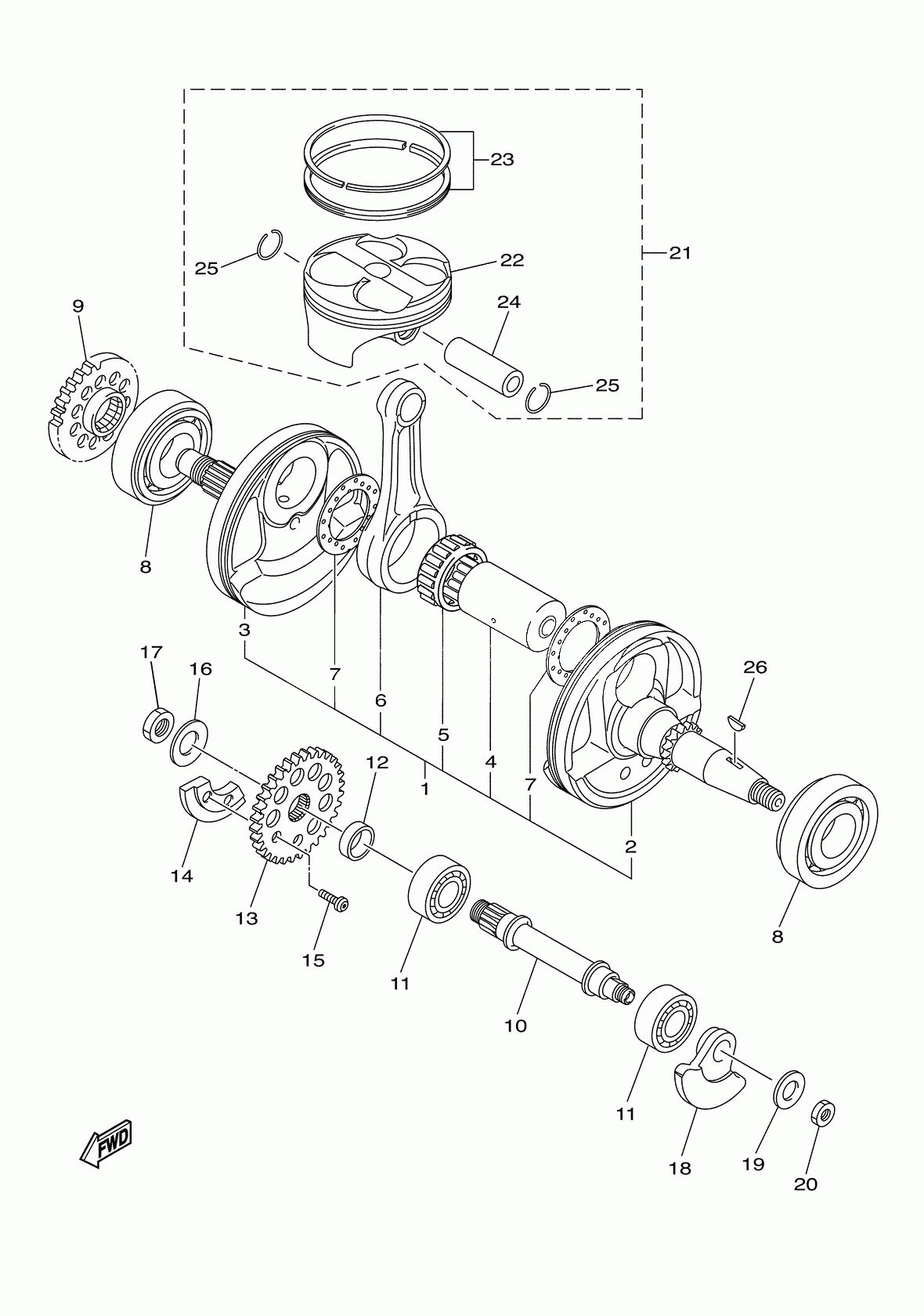 Yz250f Engine Diagram Yz250f Engine Diagram 2017 Yamaha Yz250f Yz250fxh Crankshaft Piston Of Yz250f Engine Diagram