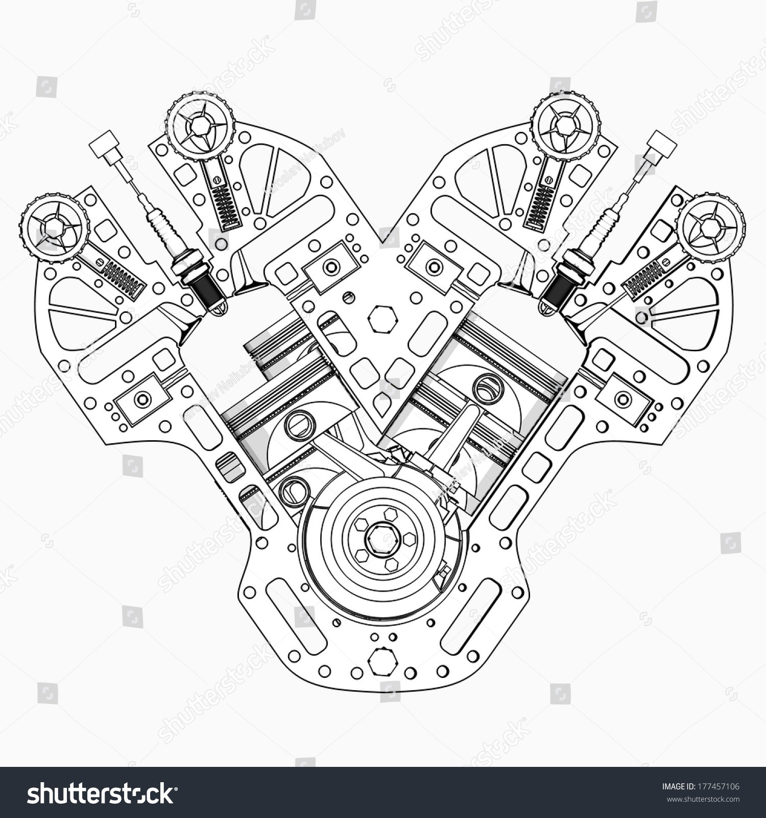 Animated V8 Engine Diagram My Wiring Car Cartoon Illustration Outline High Resolution
