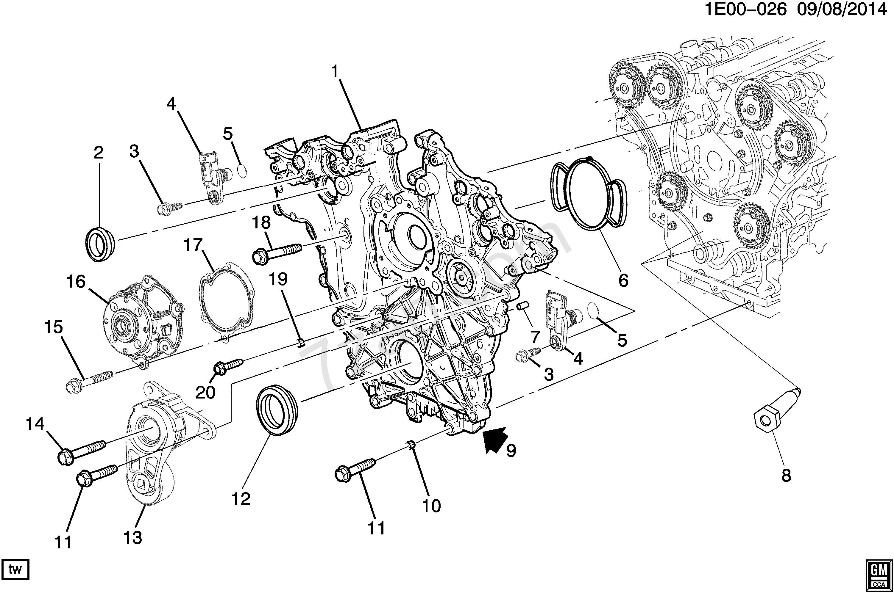 Chevy 3 1 Engine Diagram Wiring Diagrams My Ek 2012 2017 Ek19 Asm 6l V6 Front Cover Lfx