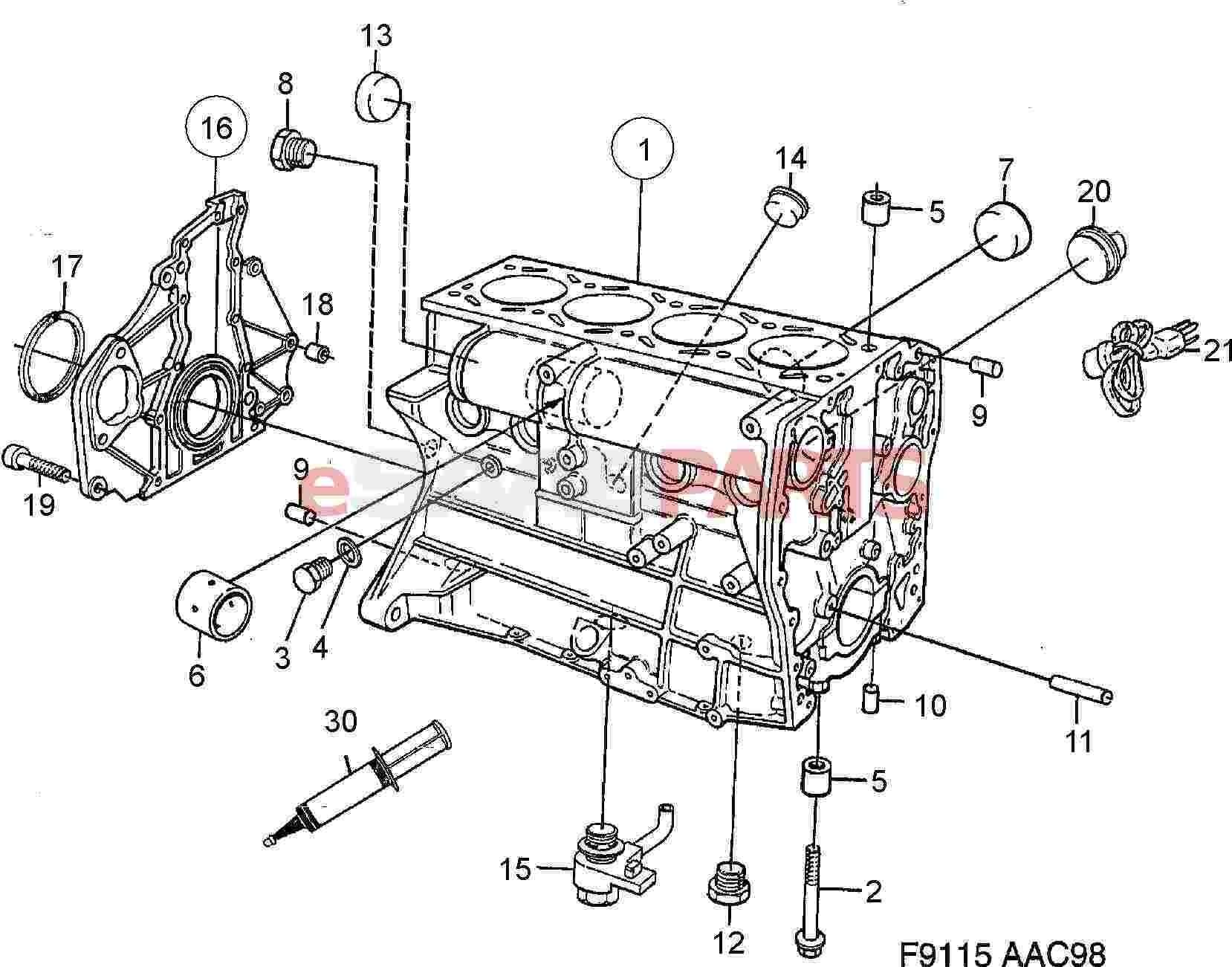 engine block parts diagram   saab gasket genuine saab