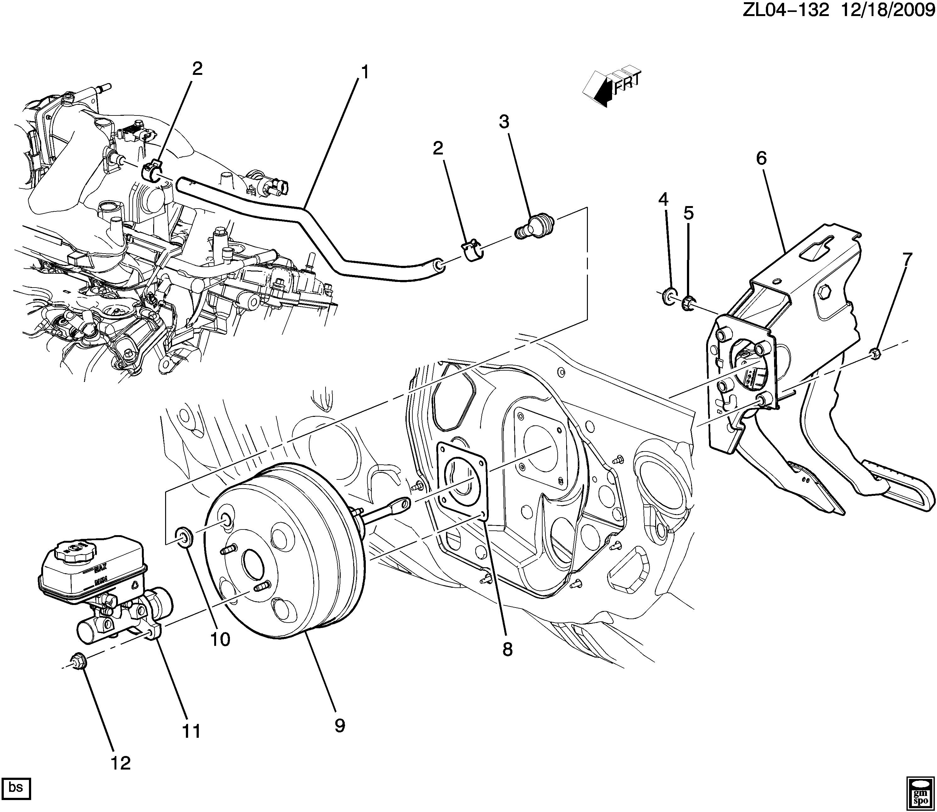 brake booster parts diagram