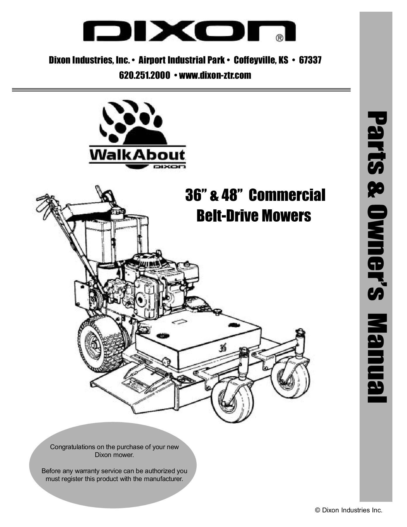 """Dixon Lawn Mower Parts Diagram Dixon Walkabout 36"""" 48"""" Mercial Belt Drive Mower Pages 1 44"""