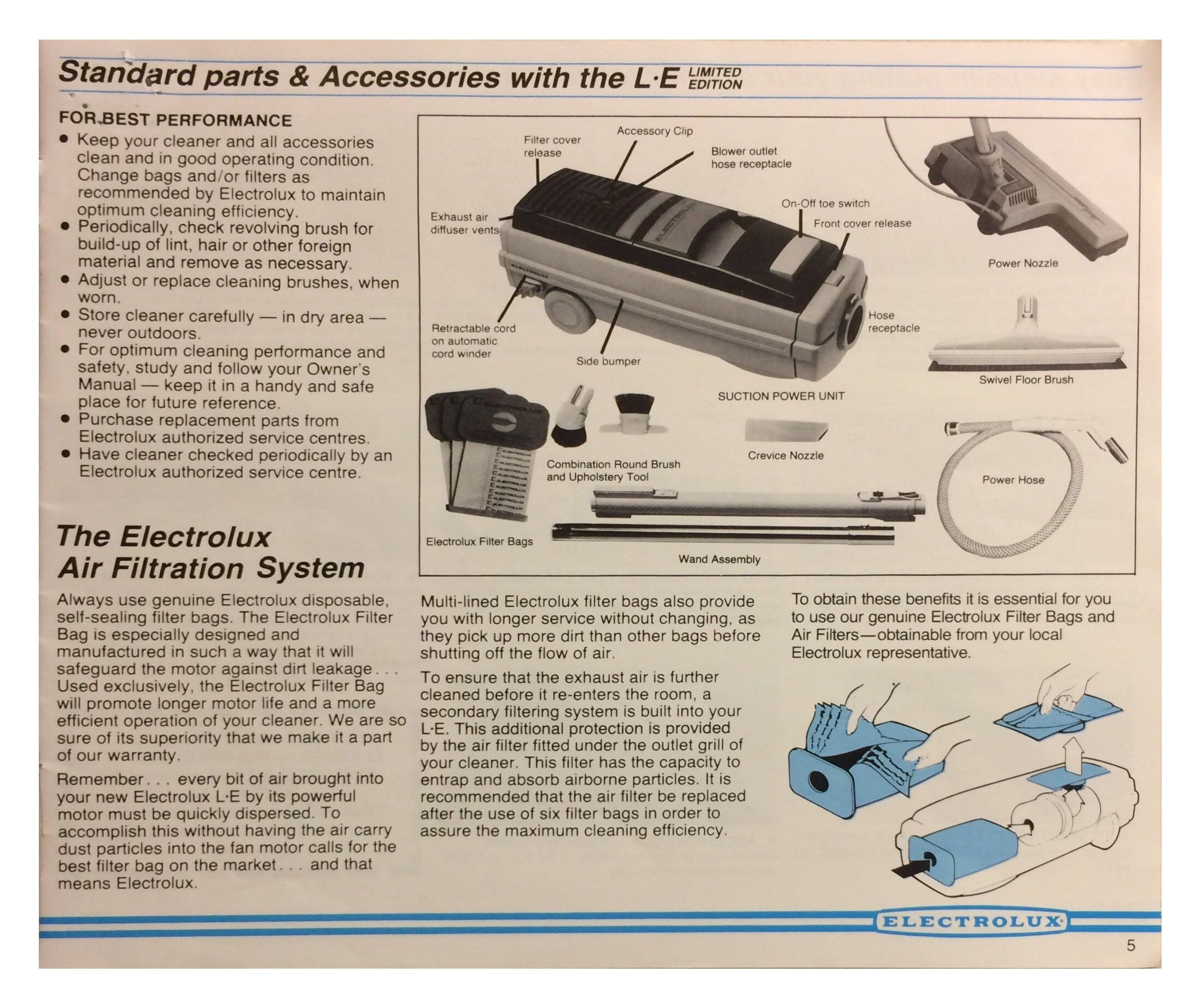 Electrolux 2100 Parts Diagram Le Electrolux Limited Edition Vacuum Cleaner Manual Pg 5 Of Electrolux 2100 Parts Diagram