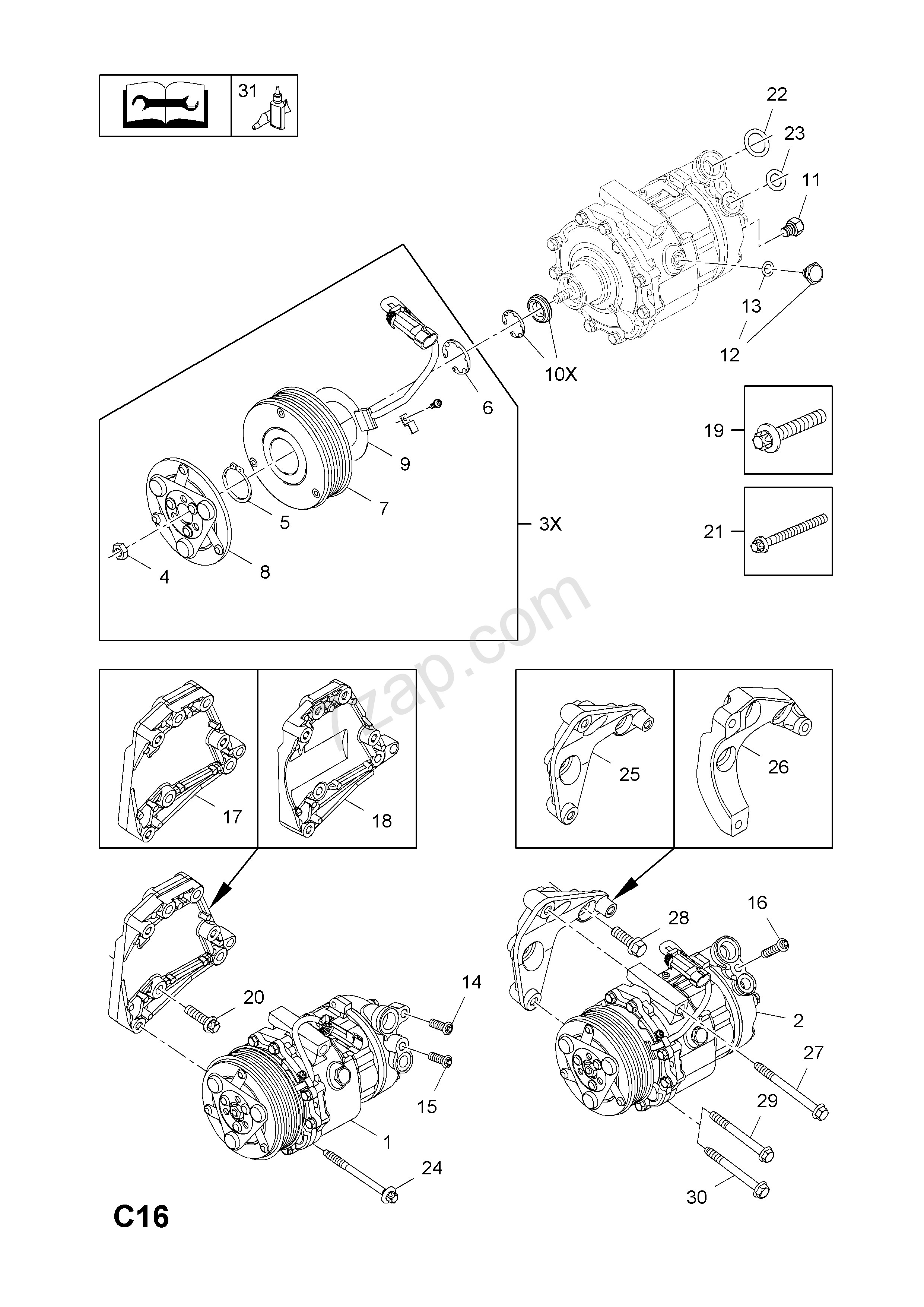 Vauxhall Corsa Engine Diagram Pressor and Fittings Contd [y13dt[ln9] Z13dt[ln9] Z13dtj[ldp Of Vauxhall Corsa Engine Diagram