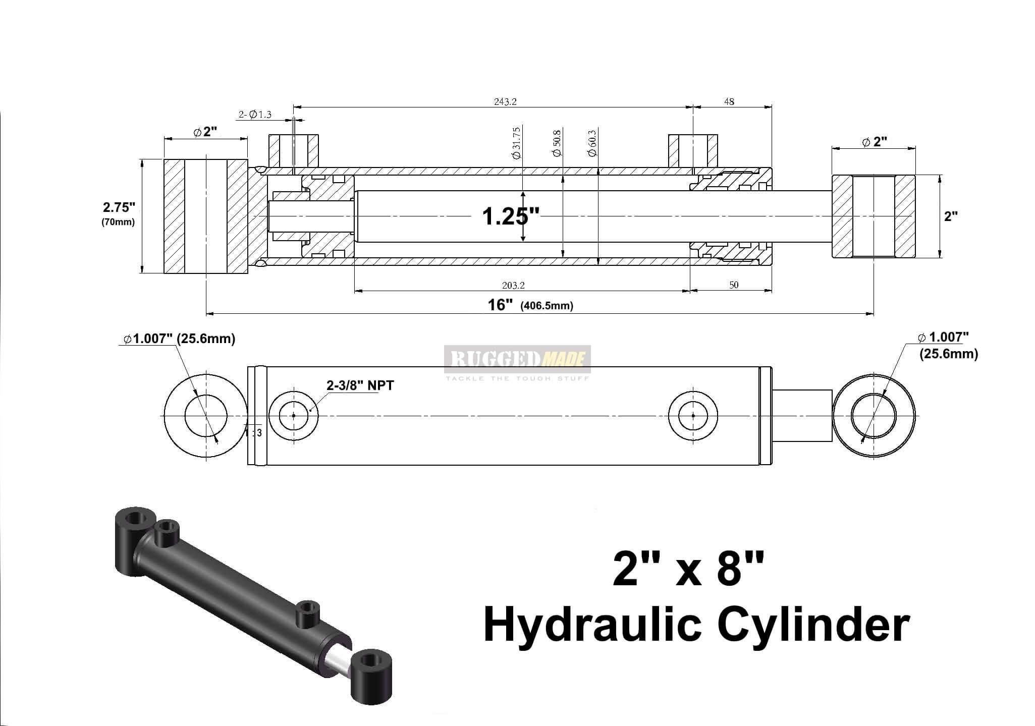 "1 Cylinder Engine Diagram Welded Log Lift Cylinder 3 8"" Work Ports 2"" Id X 8"" Stroke X 1 25 Of 1 Cylinder Engine Diagram"