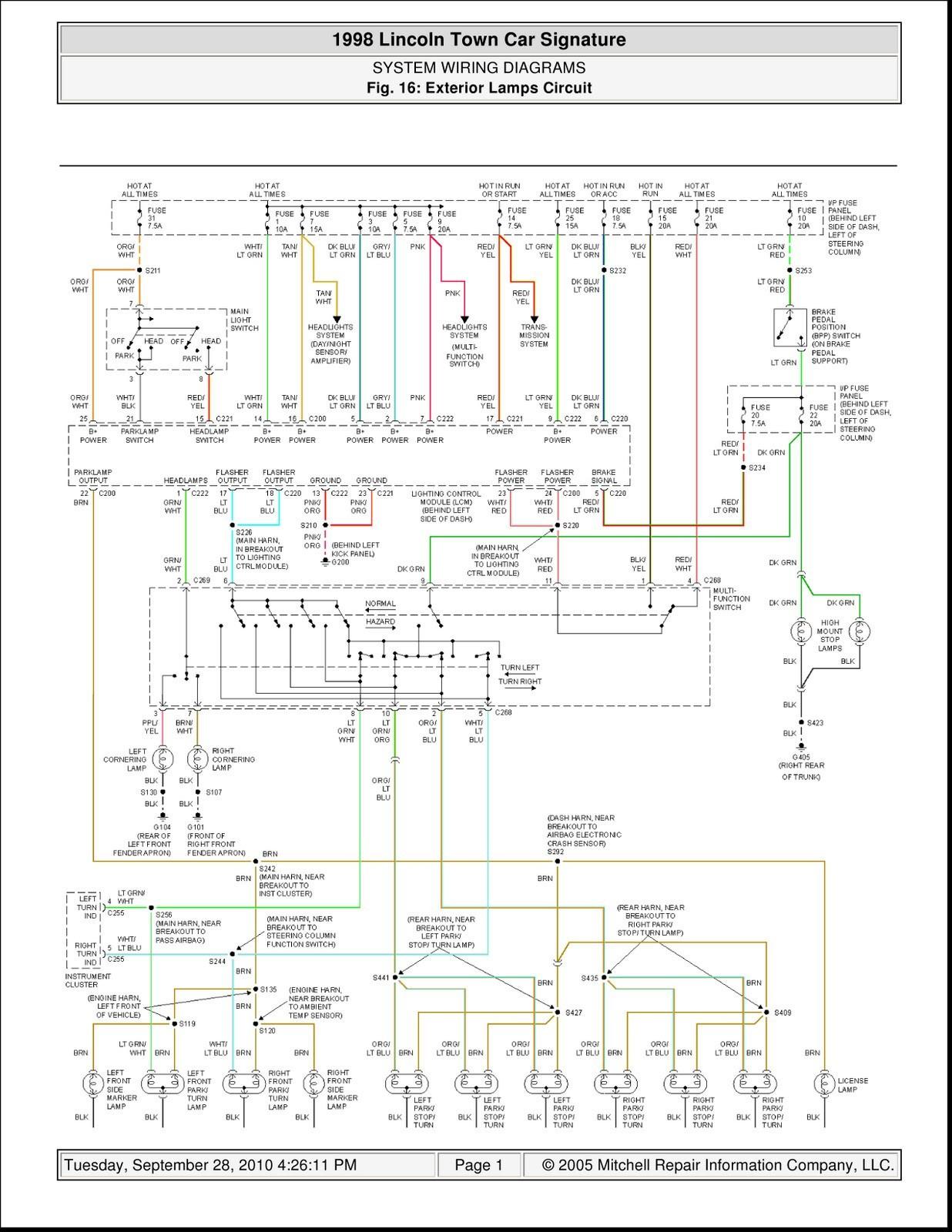 2000 Lincoln town Car Wiring Diagram 1998 Lincoln town Car Wiring Diagrams Worksheet and Wiring Diagram •