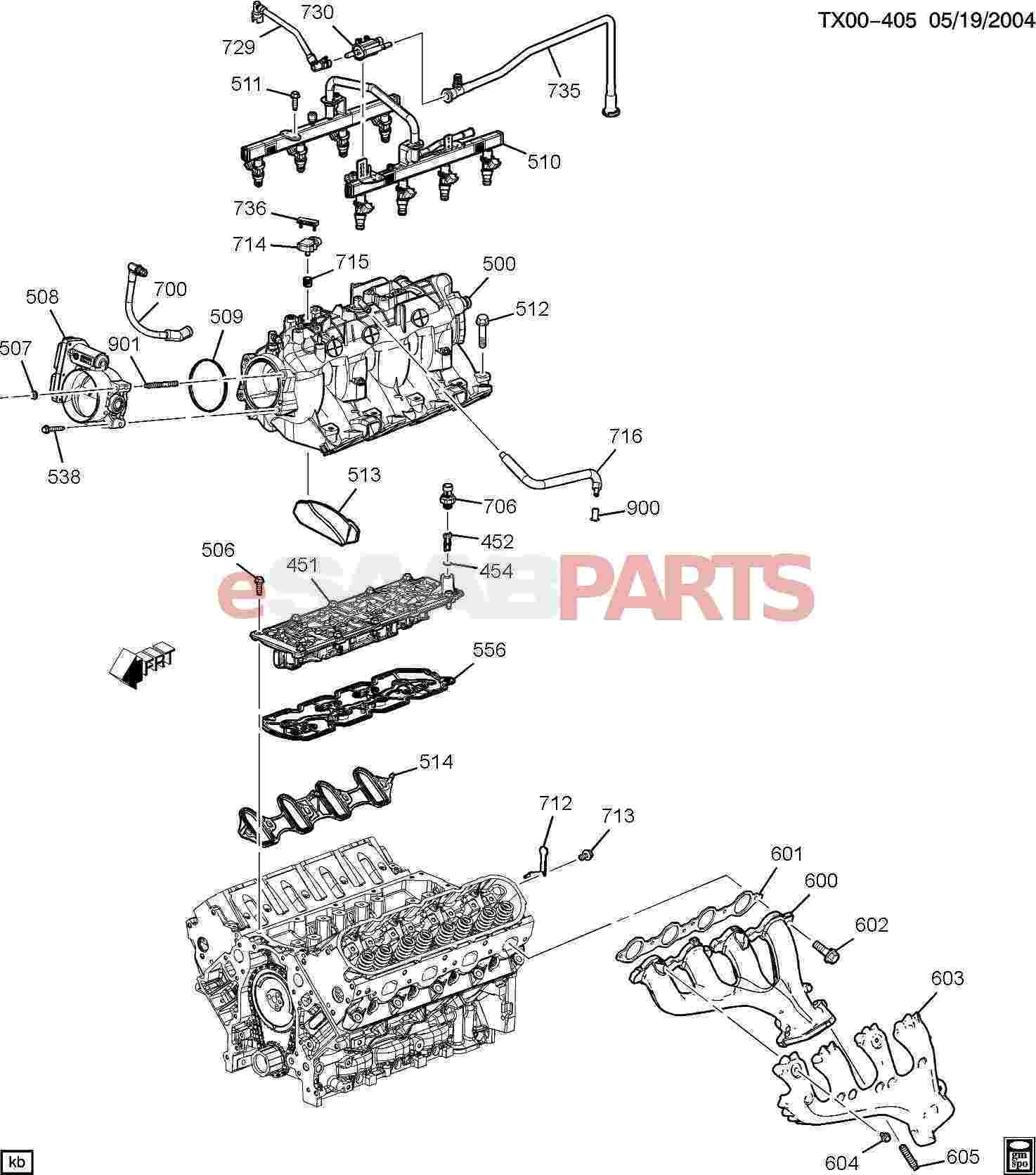 4 3 Vortec Engine Diagram 2 Esaabparts Saab 9 7x Engine Parts Engine Internal 5 3m Of 4 3 Vortec Engine Diagram 2