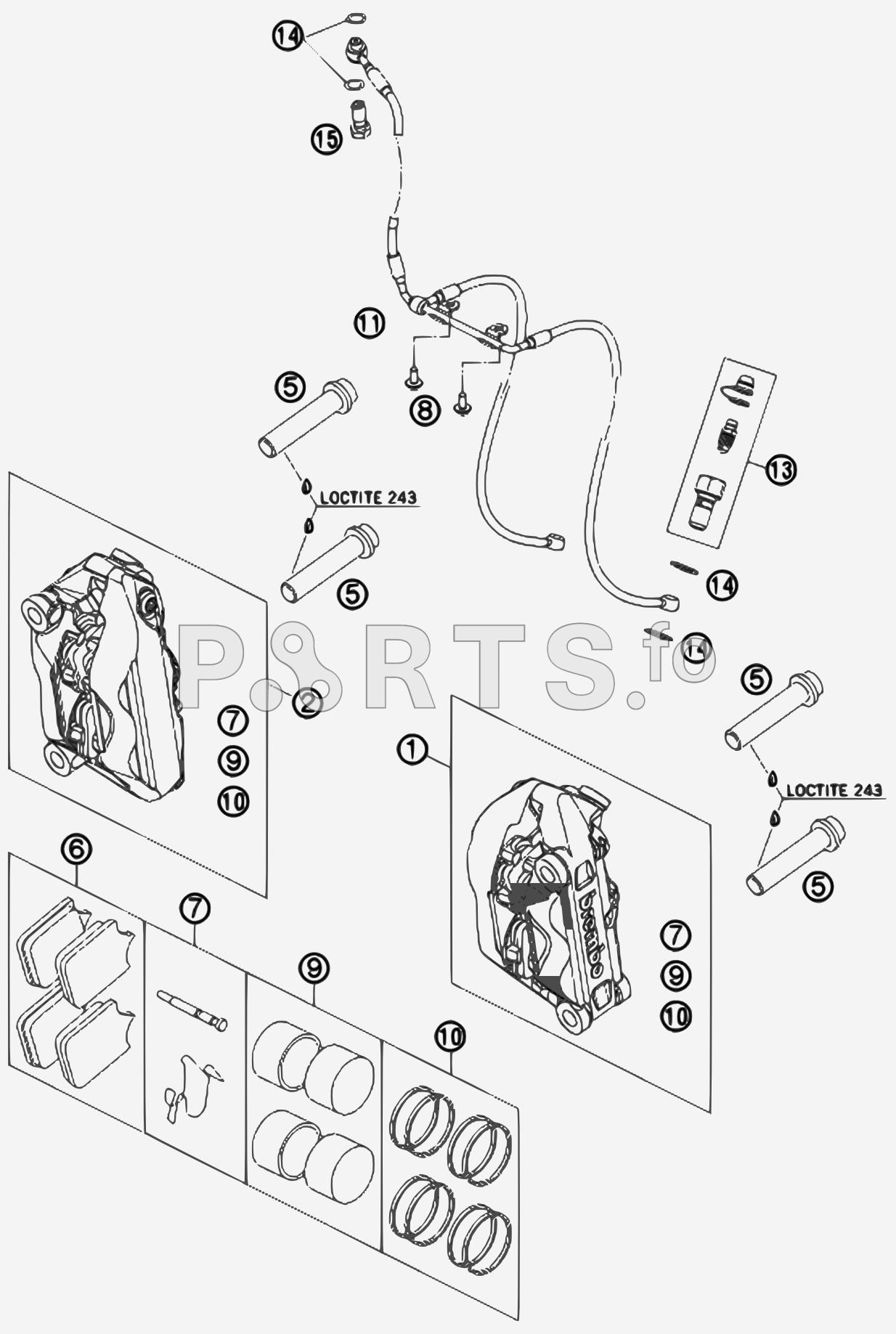 caliper parts diagram parts ktm motorcycle 990 supermoto t