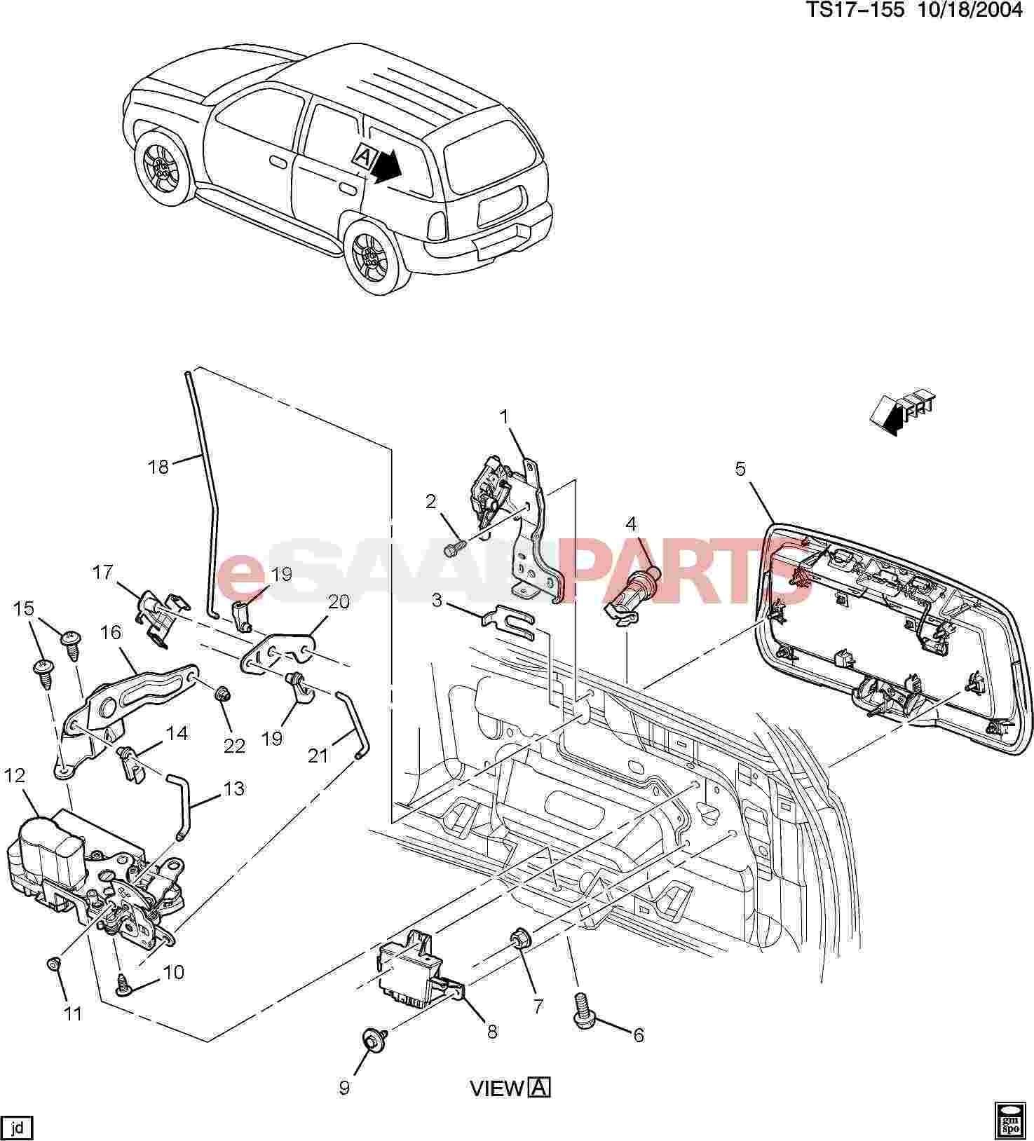 Car Body Parts Diagram Esaabparts Saab 9 7x Car Body External Parts Trunk Of Car Body Parts Diagram
