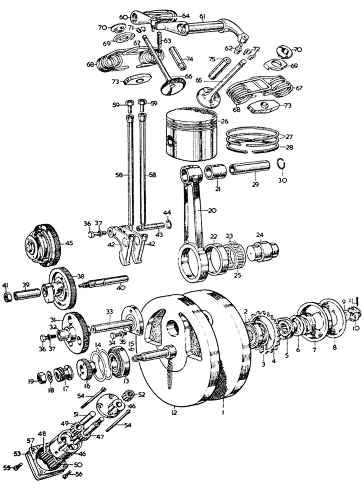 Car Engine Piston Diagram Velocette Classics Engine Expanded Timing Side Flywheel Of Car Engine Piston Diagram