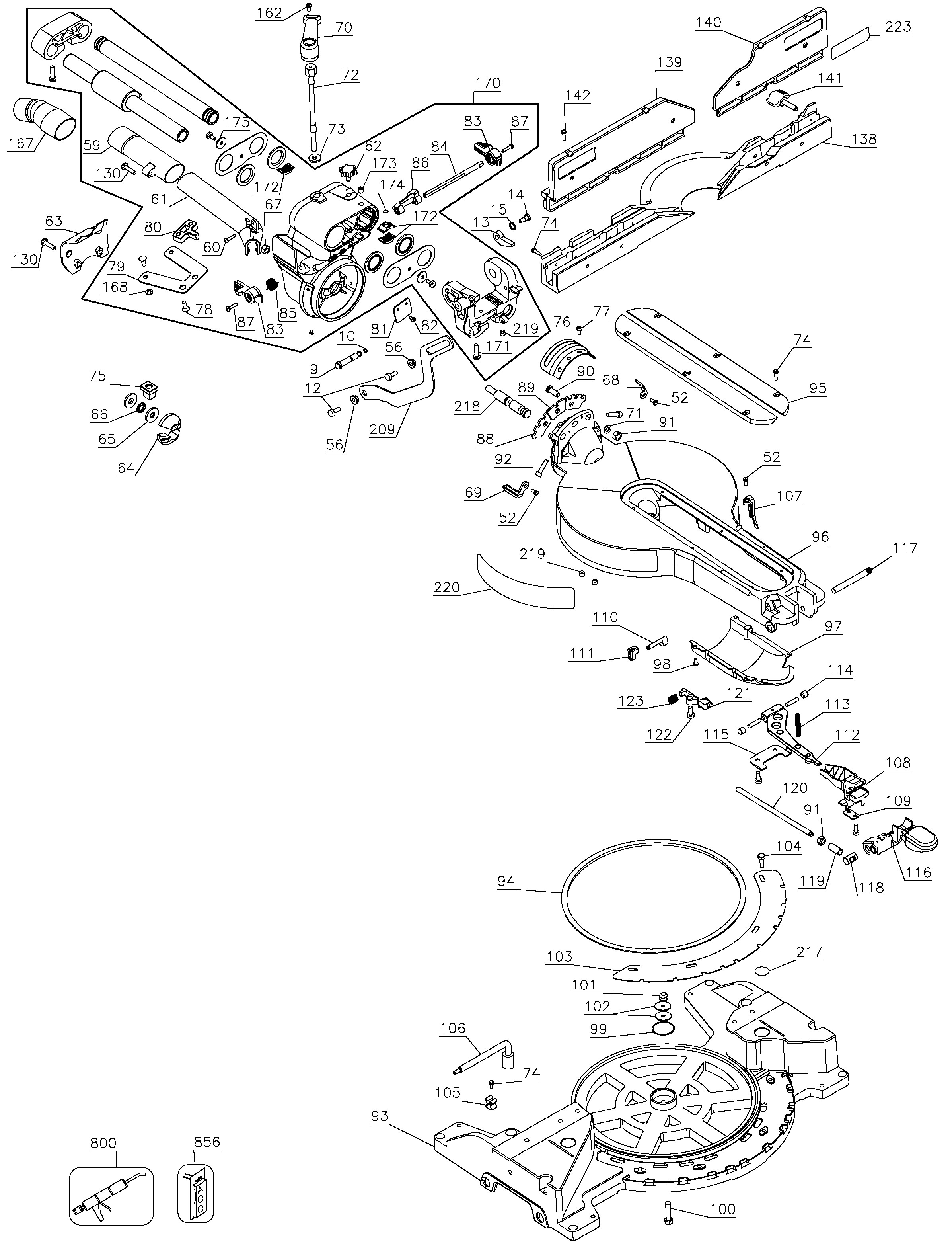 Dewalt Miter Saw Parts Diagram Dewalt Dw718 Type 1 Parts Master tool Repair Of Dewalt Miter Saw Parts Diagram