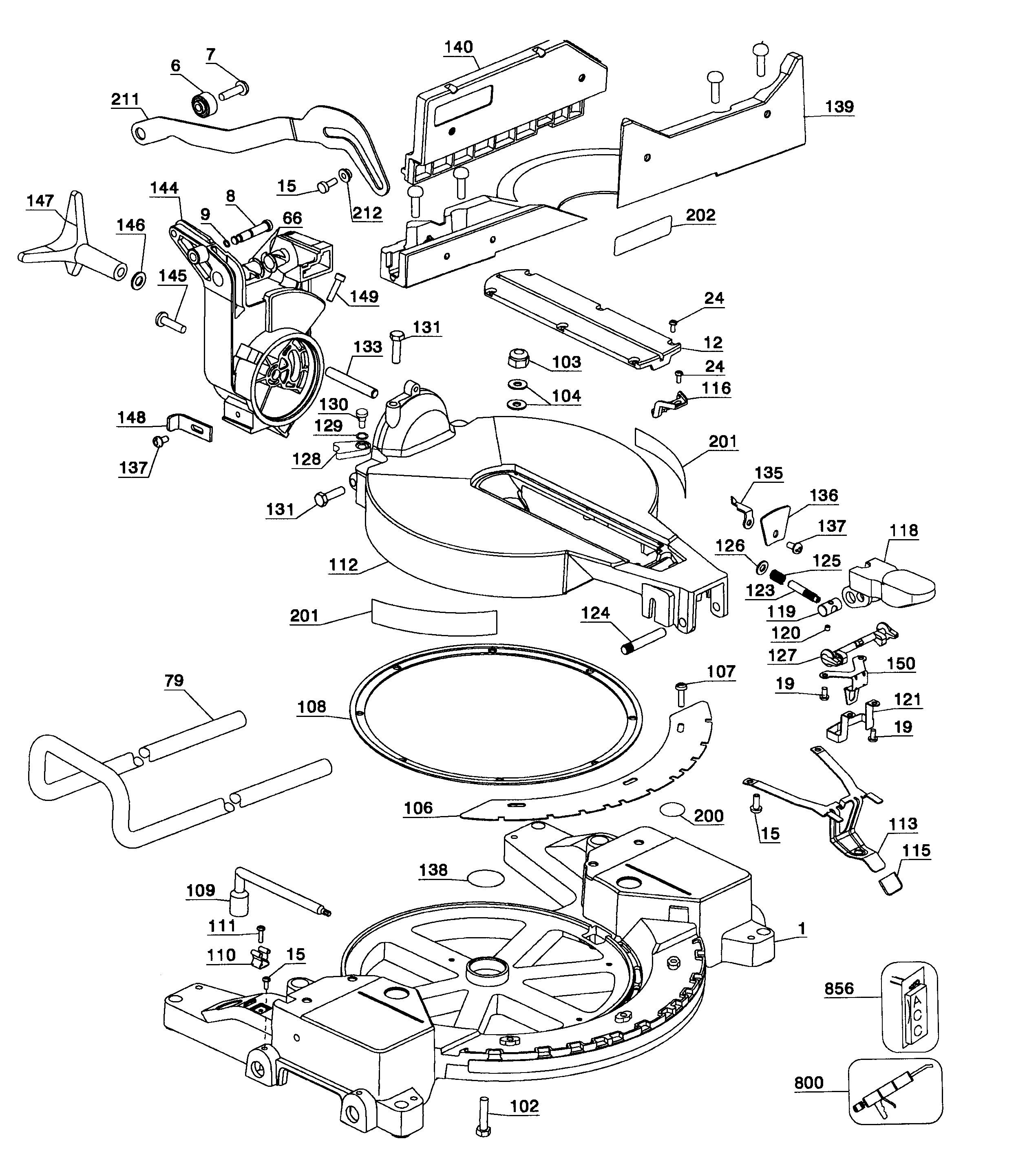 Dewalt Miter Saw Parts Diagram Dewalt Model Dw715 Type1 Miter Saw Genuine Parts Of Dewalt Miter Saw Parts Diagram