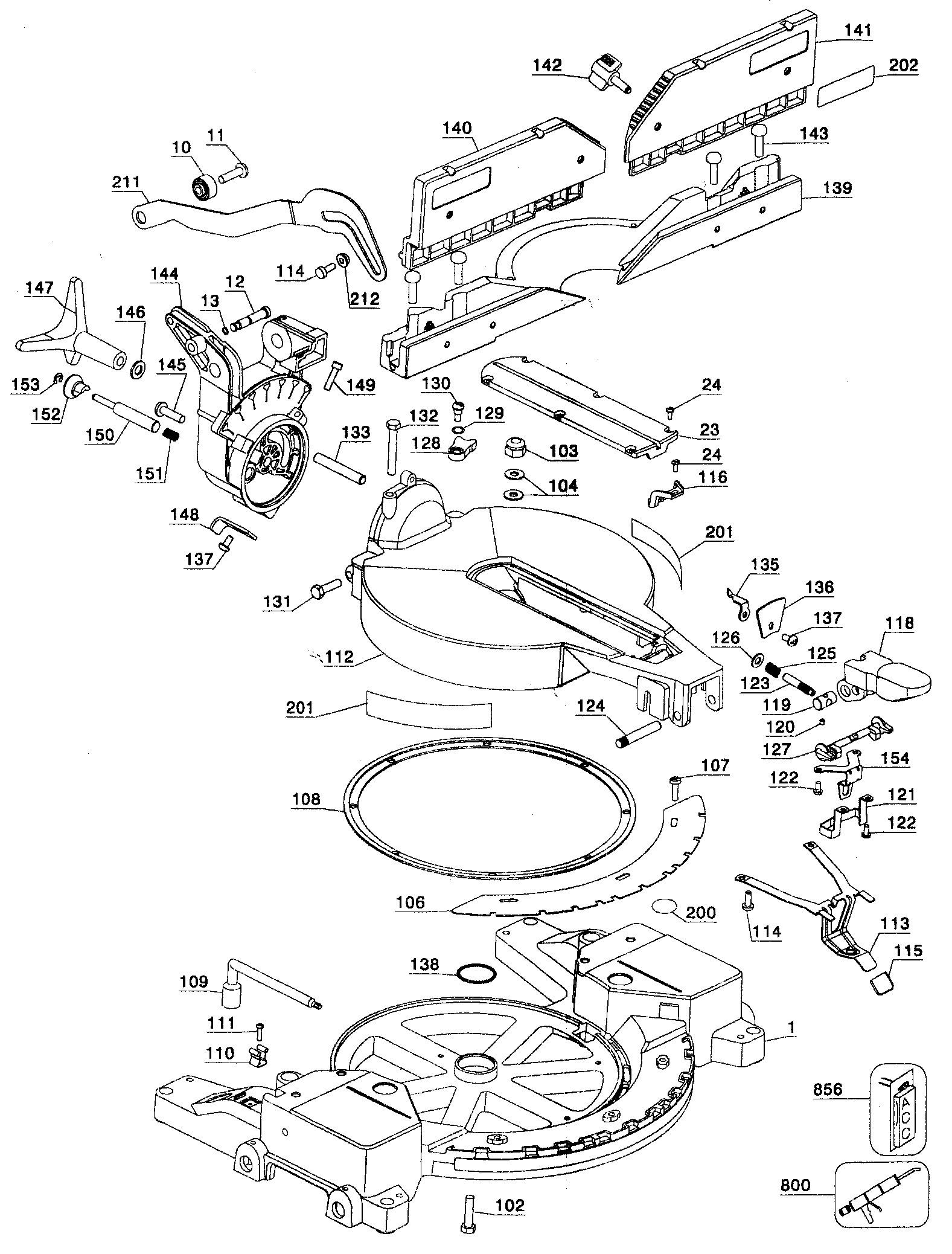 Dewalt Miter Saw Parts Diagram Dewalt Model Dw716 Type1 Miter Saw Genuine Parts Of Dewalt Miter Saw Parts Diagram