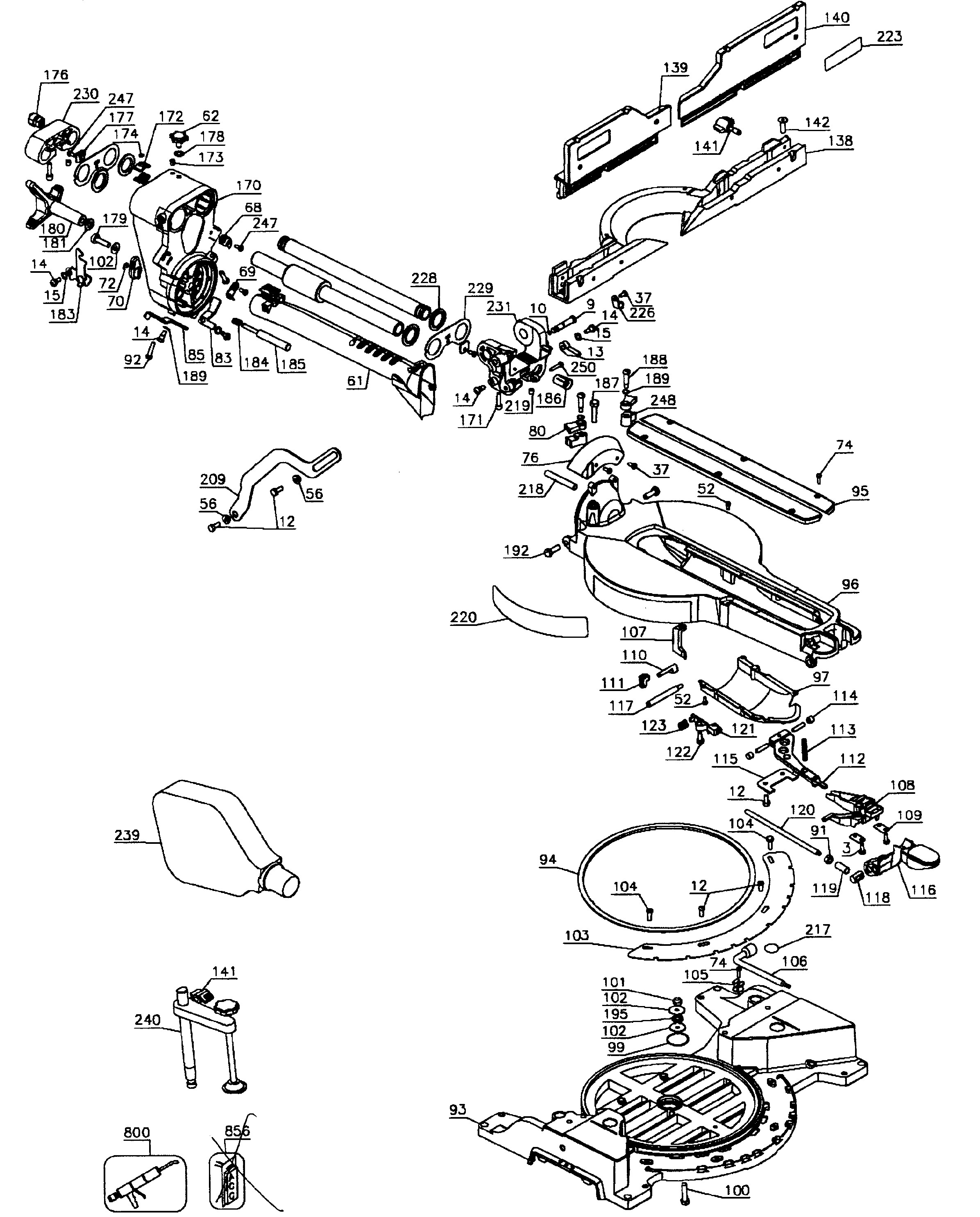 dewalt miter saw parts diagram dewalt dw718 type 1 parts