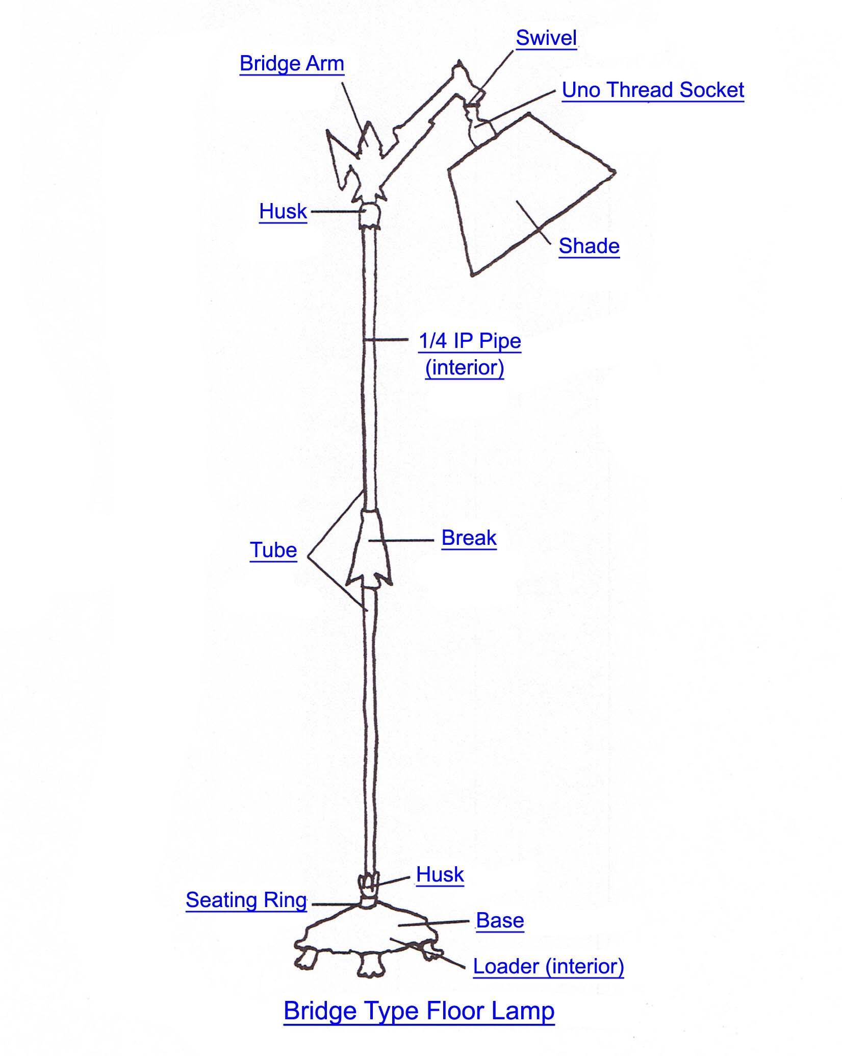 Floor Lamp Parts Diagram Bridge Floor Lamp Part Index