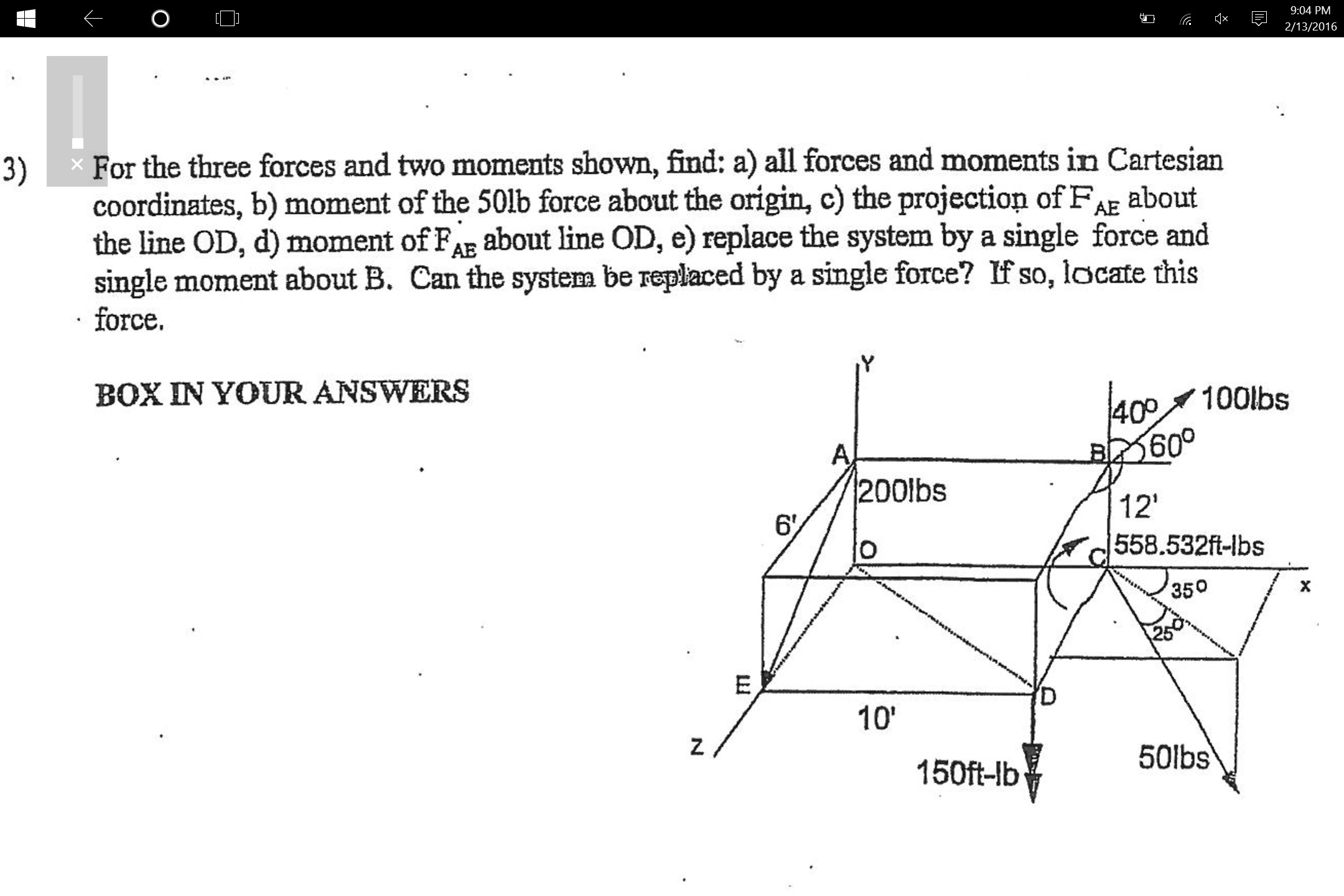 Free Body Diagram In Engineering Mechanics for the Three forces and Two Moments Shown Find Of Free Body Diagram In Engineering Mechanics