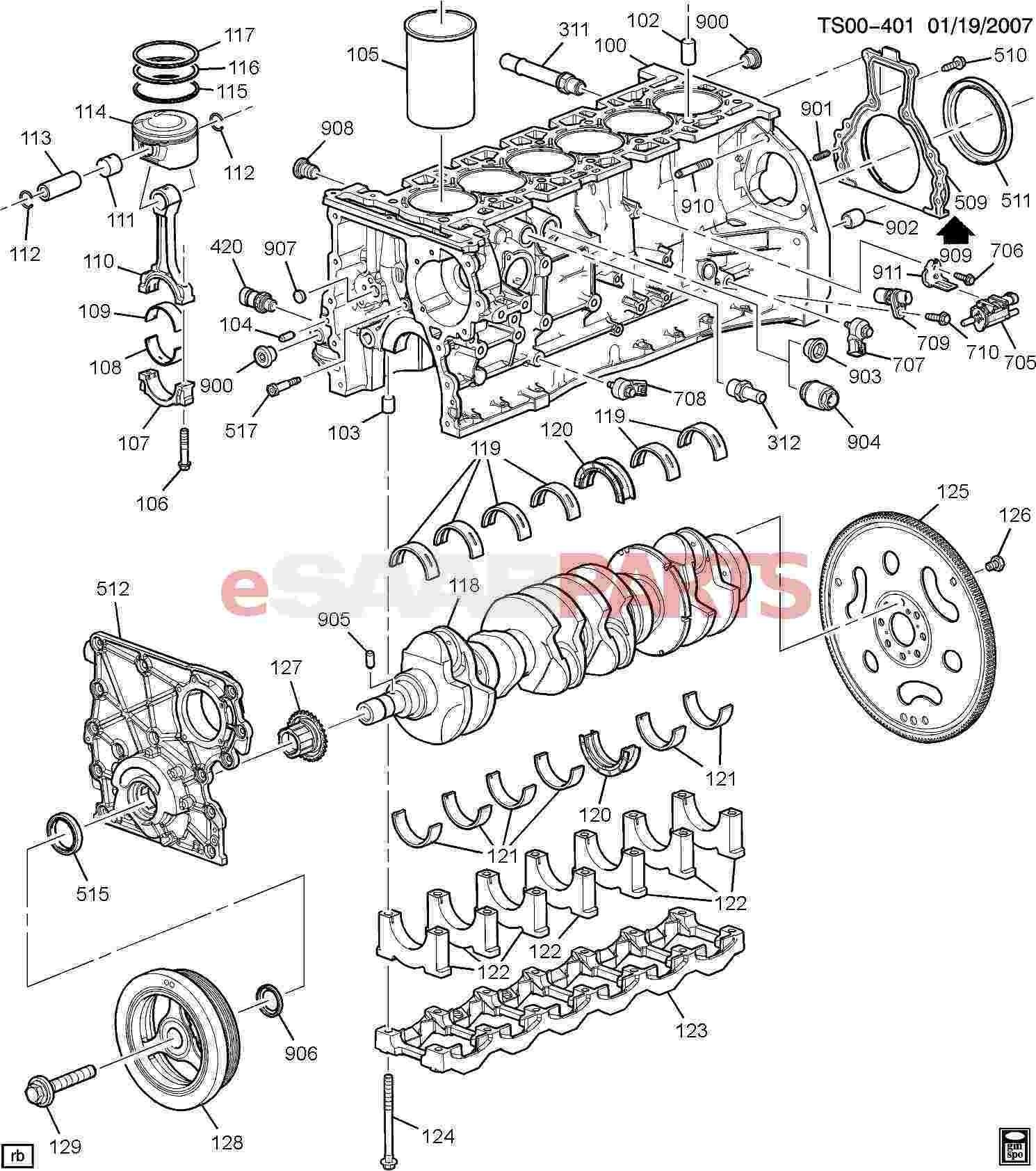 Gas Engine Parts Diagram Esaabparts Saab 9 7x Engine Parts Engine Internal 4 2s Of Gas Engine Parts Diagram