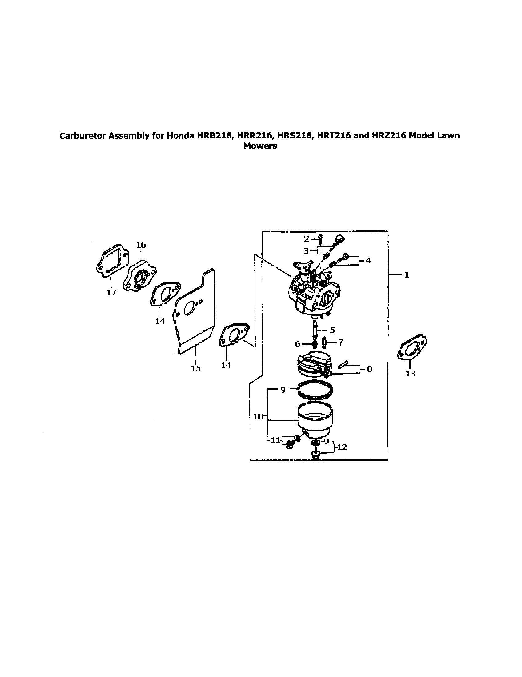 Honda Hrr216vka Parts Diagram Honda Model Hrr216 Walk Behind Lawnmower Gas Genuine Parts