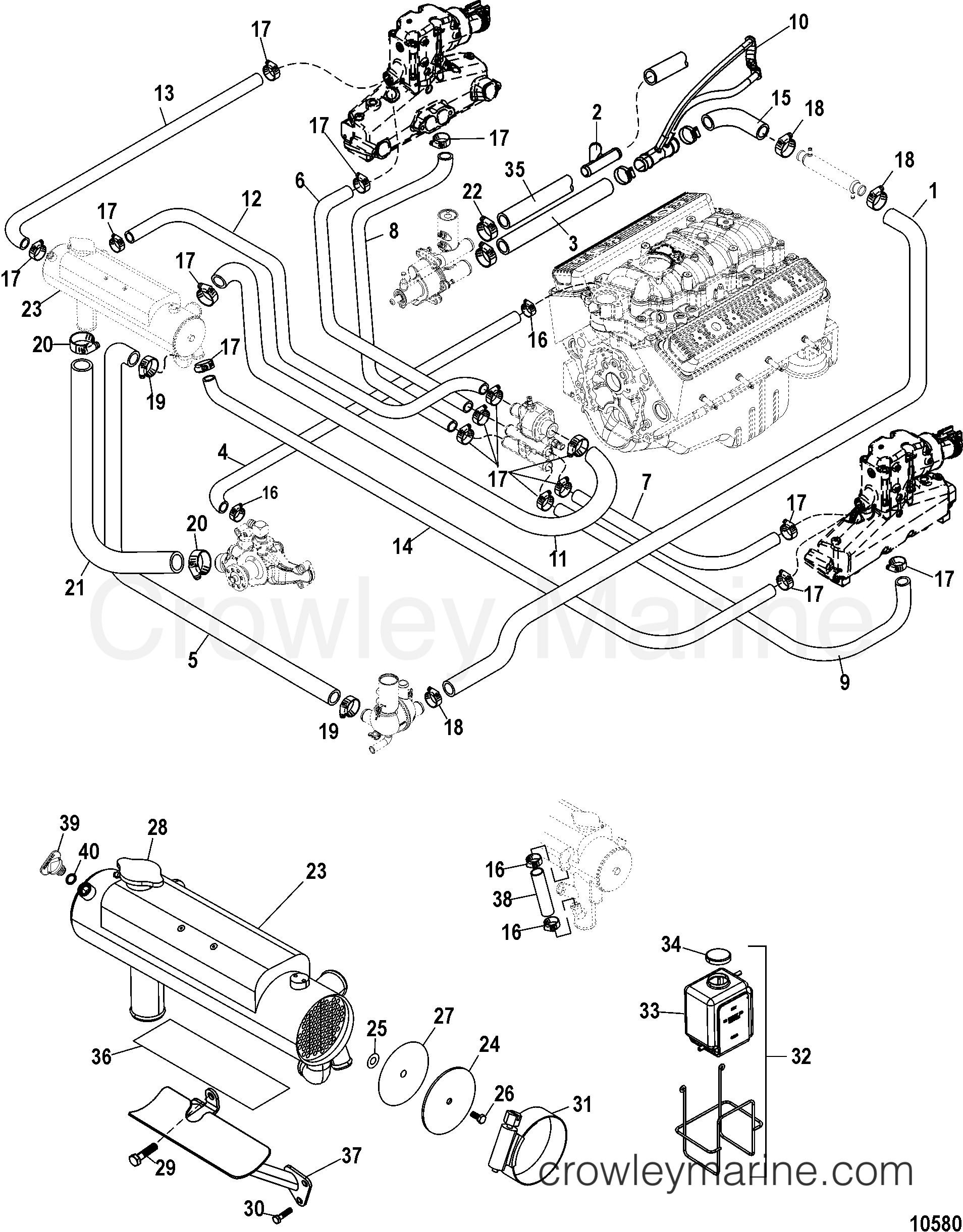 Marine Engine Cooling System Diagram Closed Cooling System Serial Range Mercruiser Mx 6 2l Mpi Mie Of Marine Engine Cooling System Diagram