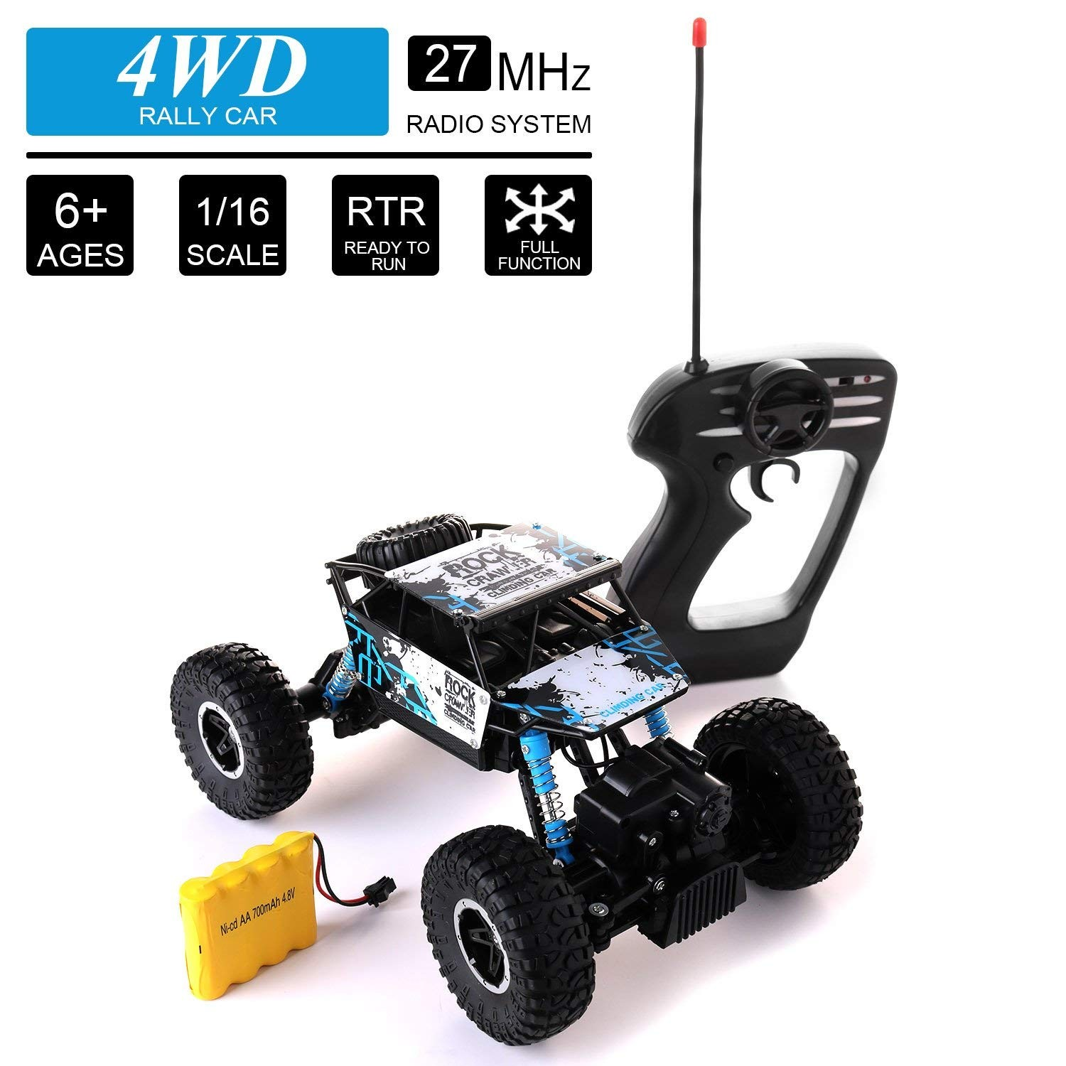 Remote Control Car Diagram Amazon Glantop 27mhz 4wd Rally Car 4 Wheel Drive Rock Crawler 1 Of Remote Control Car Diagram