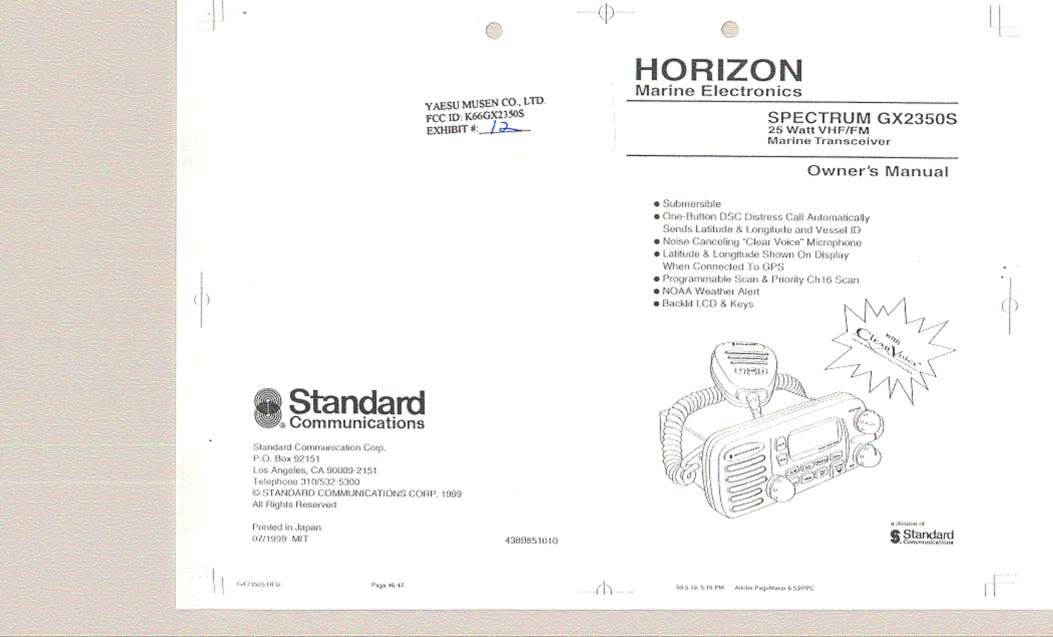 Transmission Diagram Manual Gx2350s Vhf Marine Transmitter User Manual Users Manual Yaesu Musen Of Transmission Diagram Manual