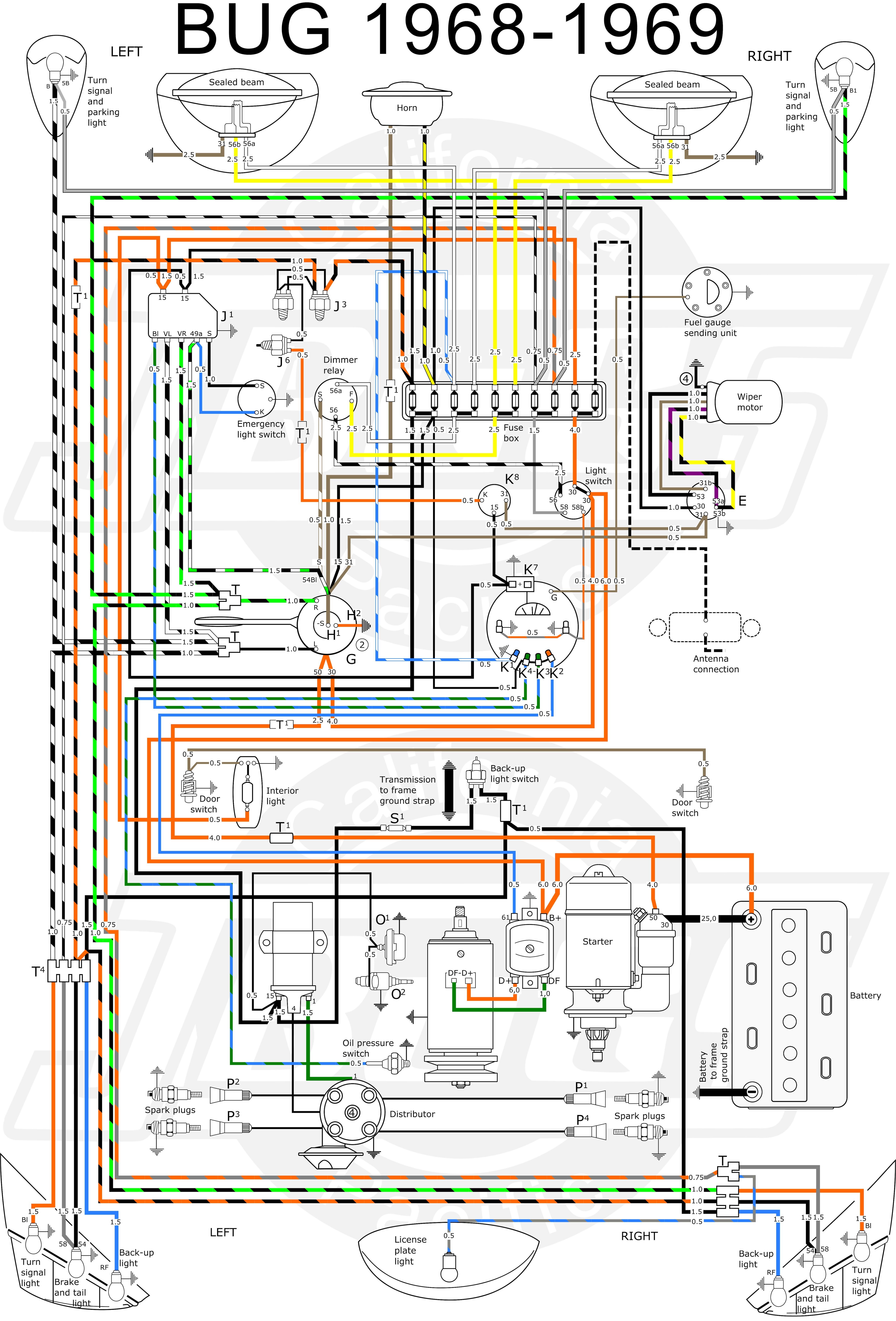 Vw Beetle Wiring Diagram 1969 Vw Bug Instrument Light Wiring List Schematic Circuit