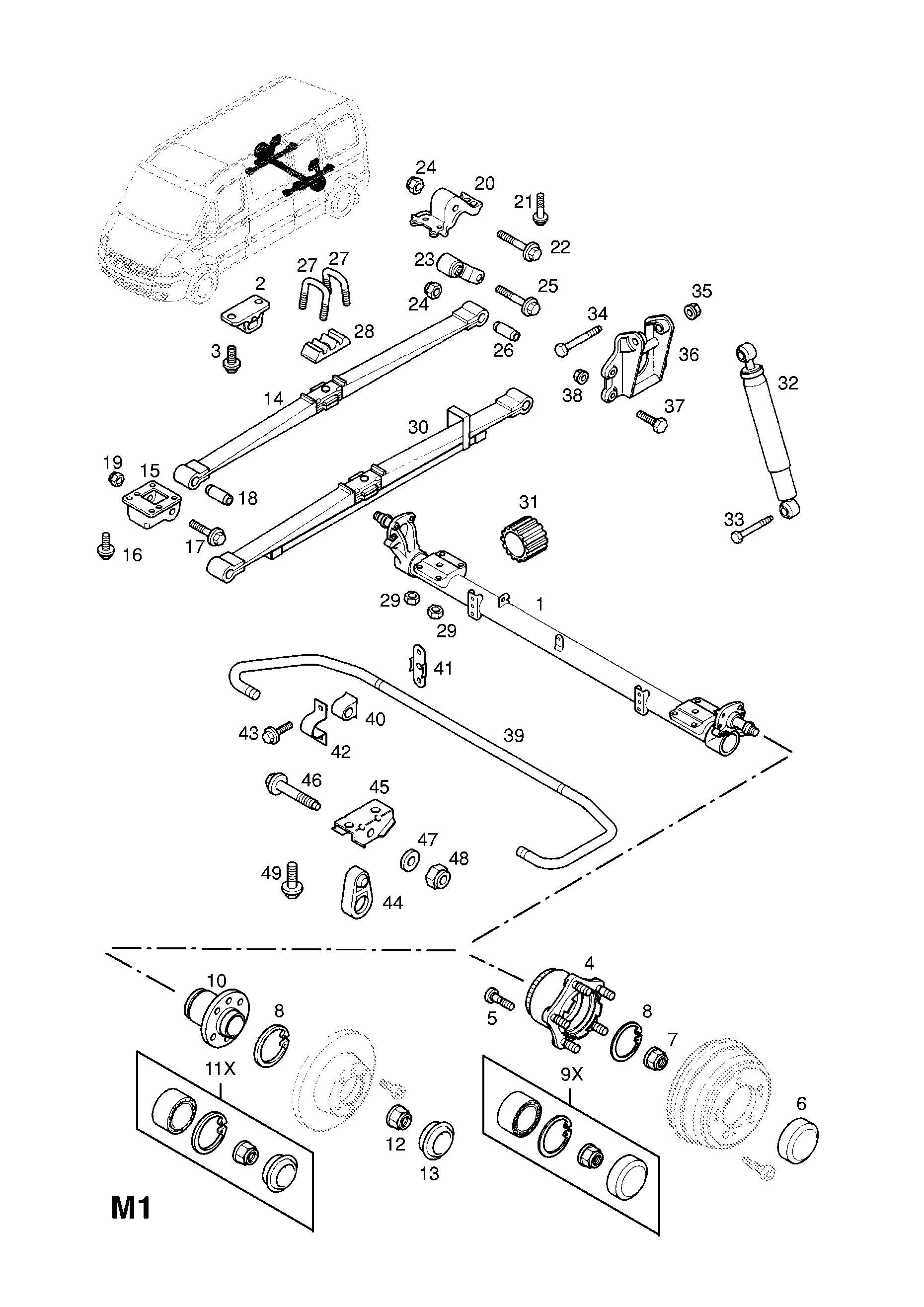 Leaf Spring Parts Diagram Opel Movano A 1999 2010 M Rear Axle and Suspension 1 Leaf Of Leaf Spring Parts Diagram