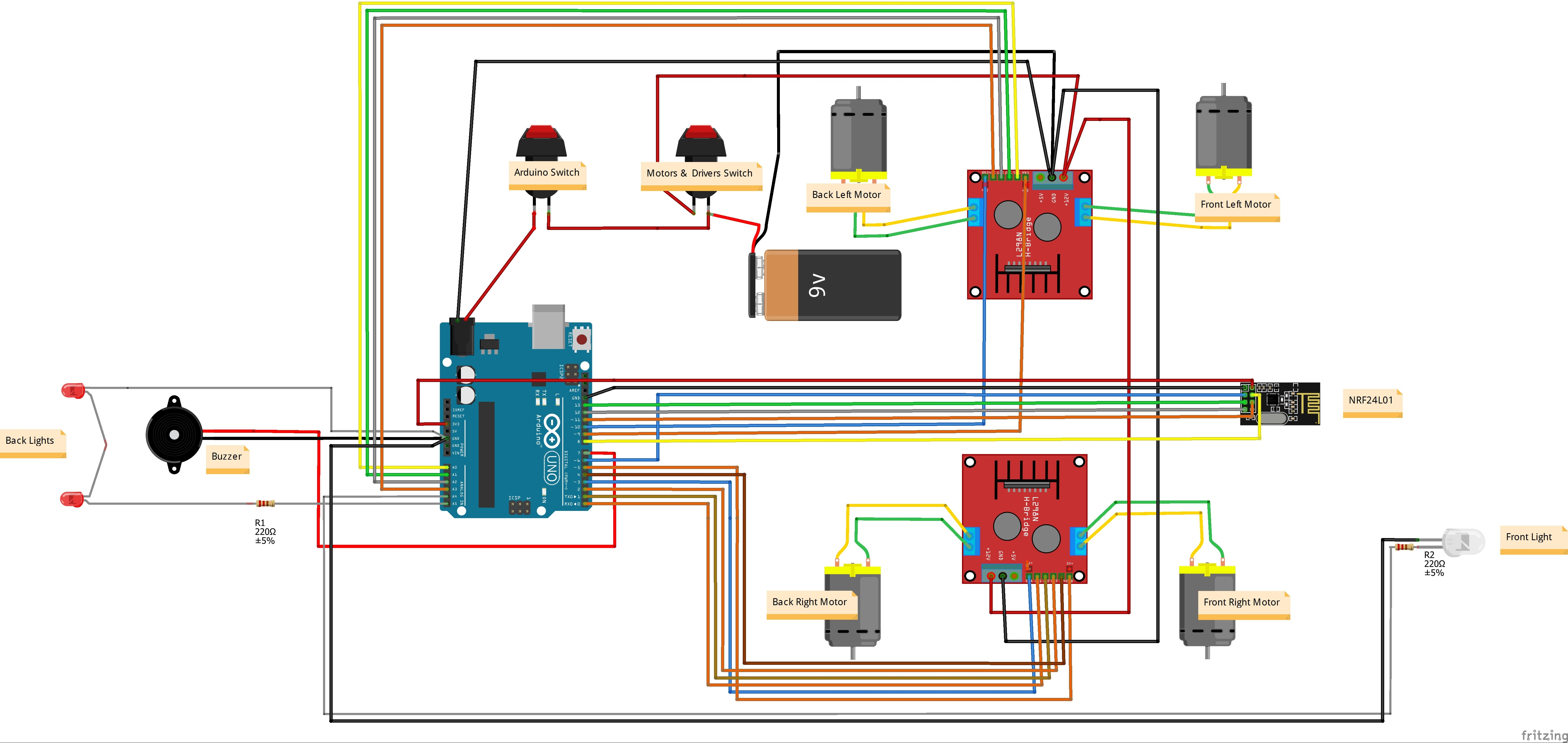 Wireless Remote Control Car Circuit Diagram Arduino 4wd Rc Car Hackster Of Wireless Remote Control Car Circuit Diagram