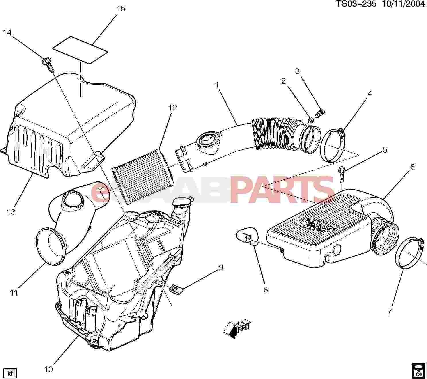 Air Intake System Diagram Esaabparts Saab 9 7x Engine Parts Air Filters & Related Of Air Intake System Diagram