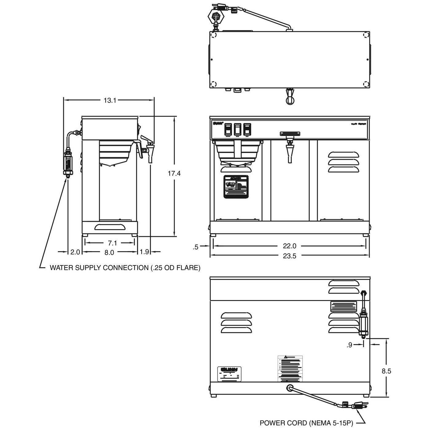 Bunn Coffee Maker Parts Diagram Bunn Vlpf Automatic 12 Cup Coffee Brewer 2 Warmers with Faucet Of Bunn Coffee Maker Parts Diagram