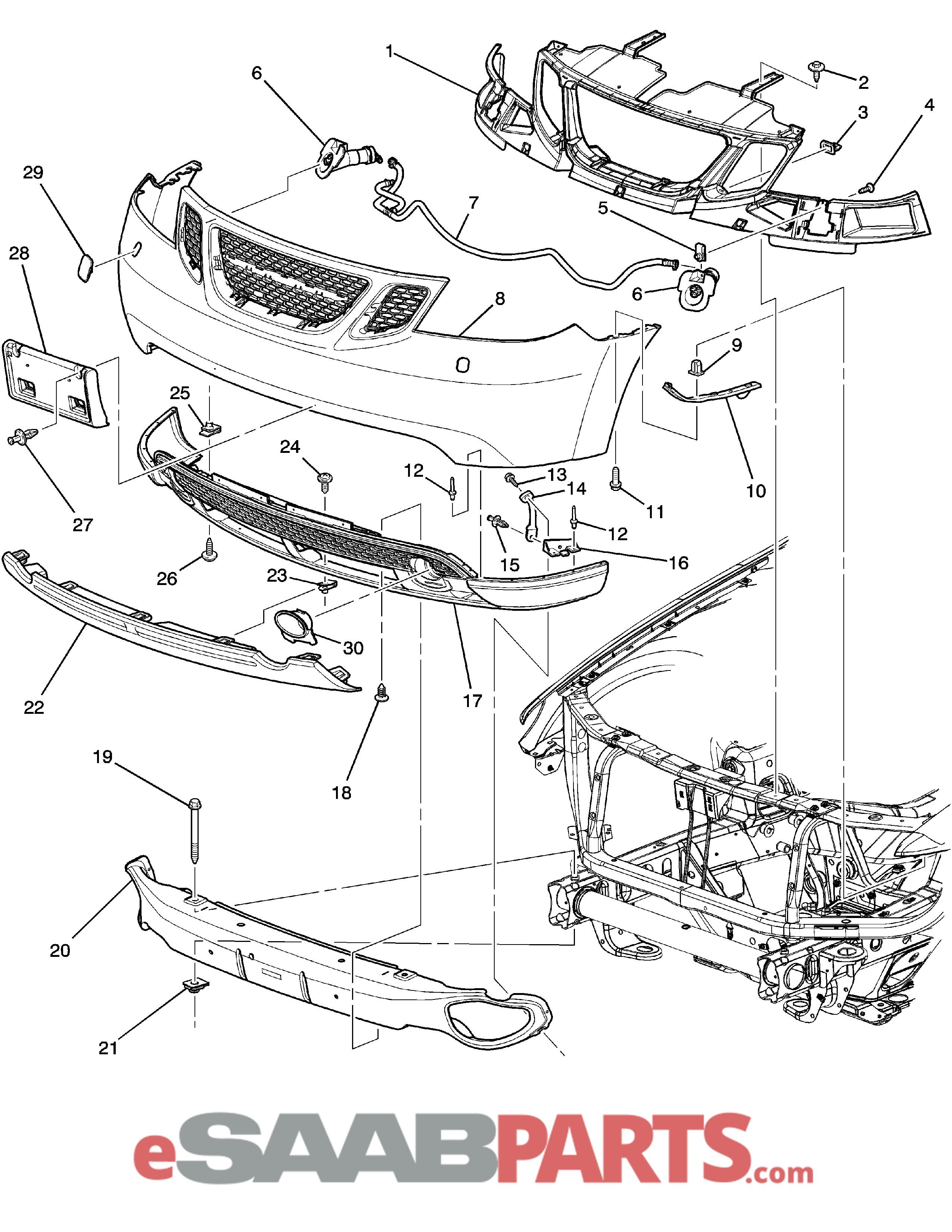 Car Front End Parts Diagram Esaabparts Saab 9 7x Car Body External Parts Bumpers Of Car Front End Parts Diagram